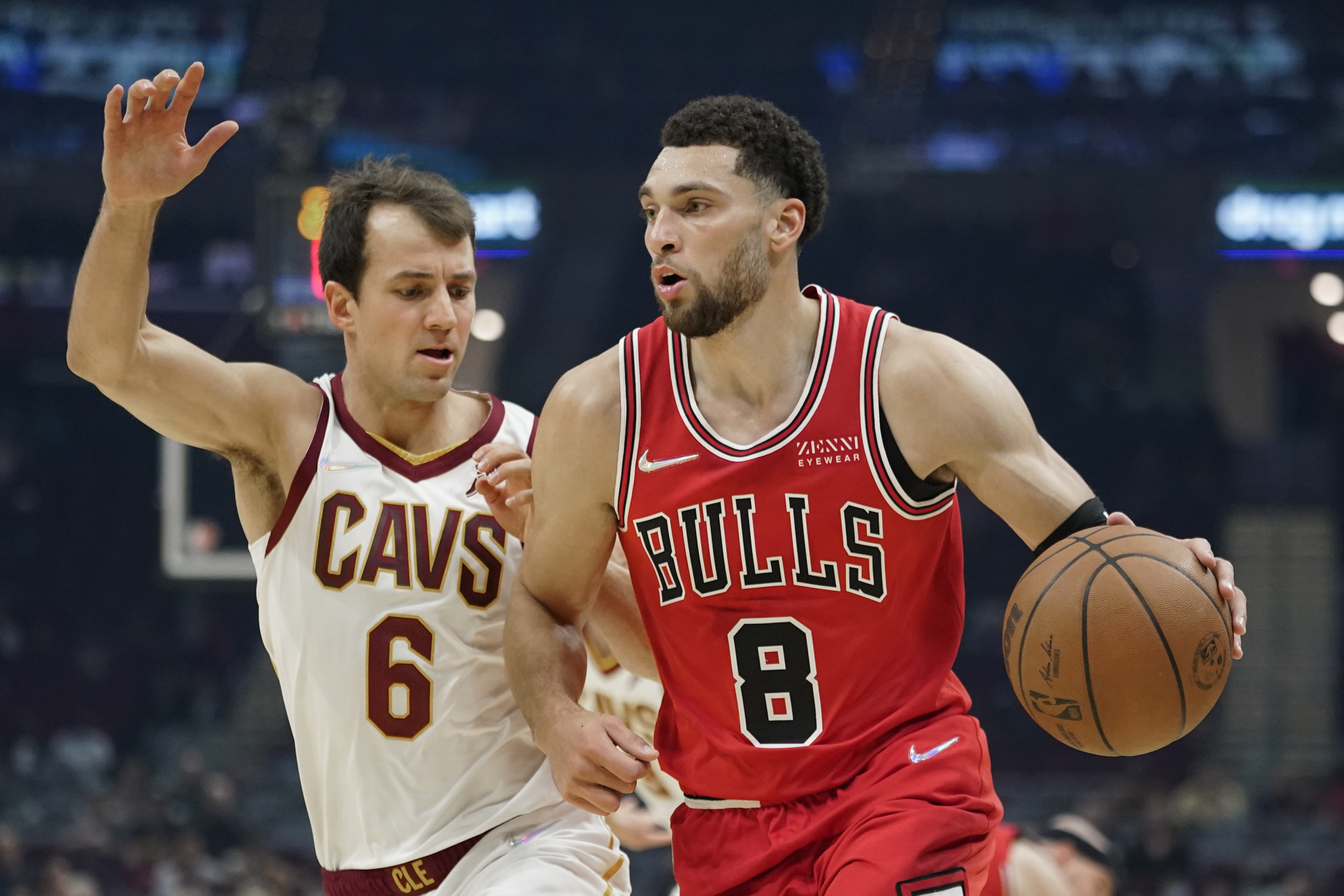 The Bulls' Zach LaVine drives against the Cleveland Cavaliers' Kevin Pangos in the first half of Sunday's  preseason game.