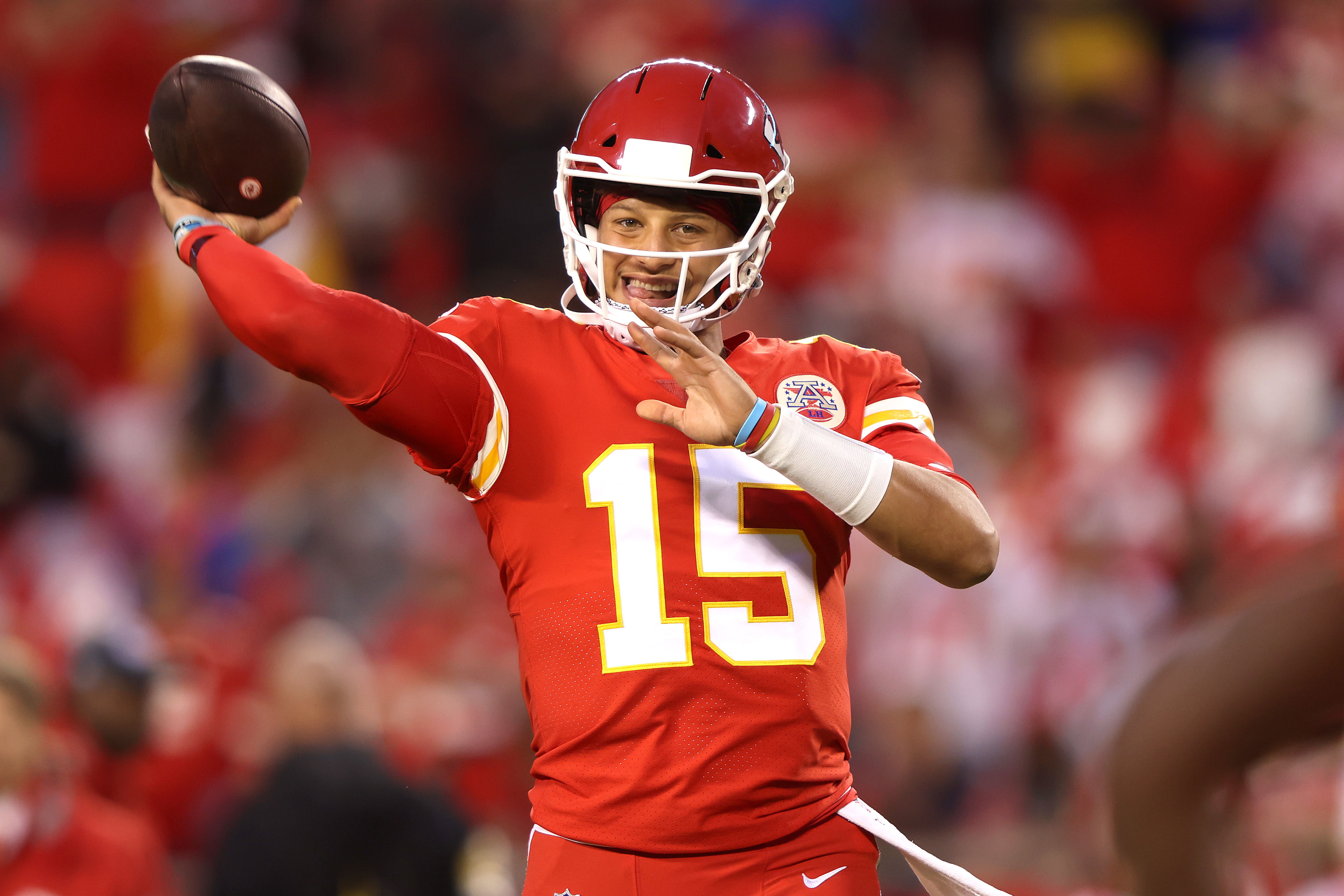 Patrick Mahomes #15 of the Kansas City Chiefs warms up prior to a game against the Buffalo Bills at Arrowhead Stadium on October 10, 2021 in Kansas City, Missouri.