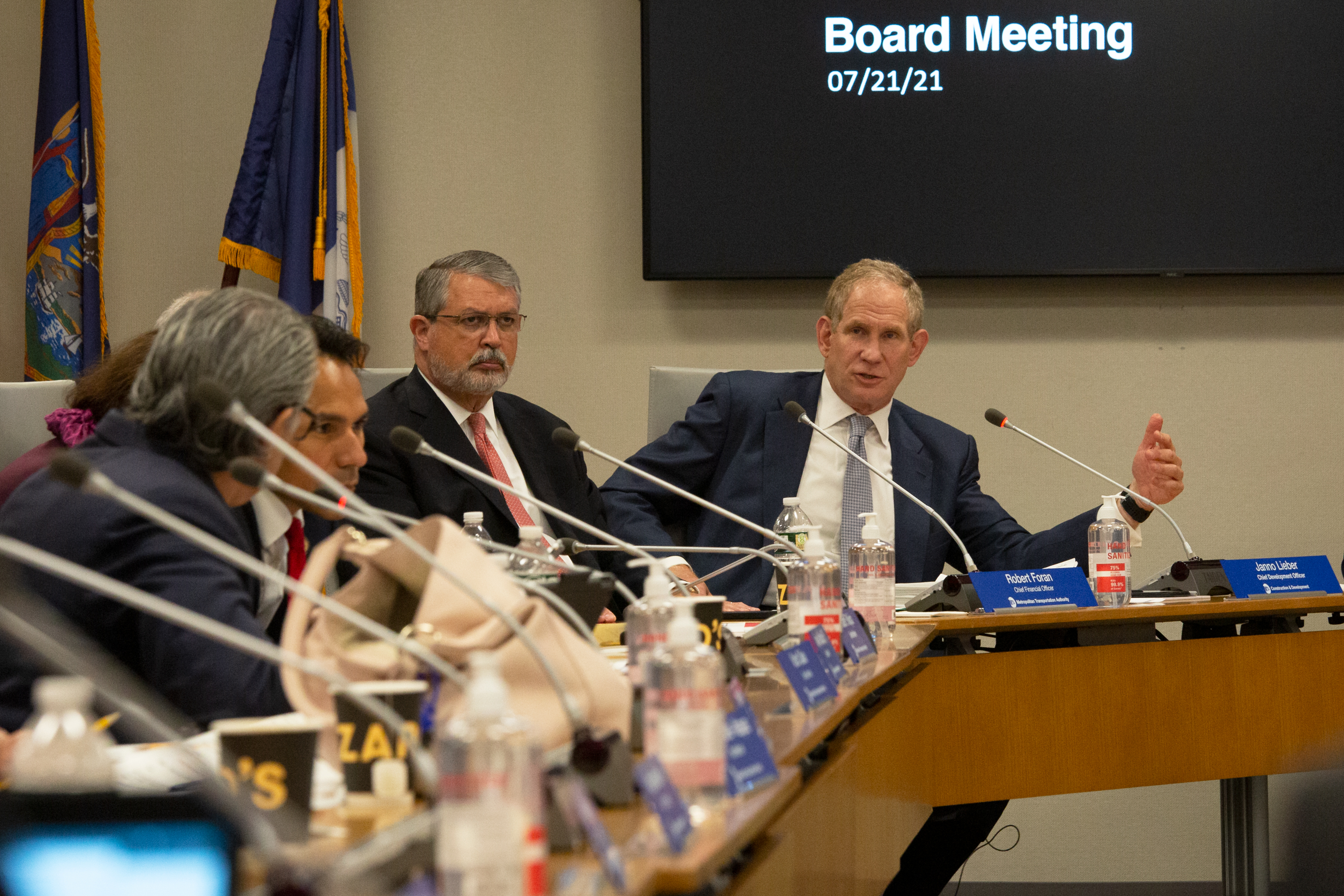 MTA Chief Development Officer Janno Lieber speaks at the agency's monthly board meeting in lower Manhattan, July 21, 2021.