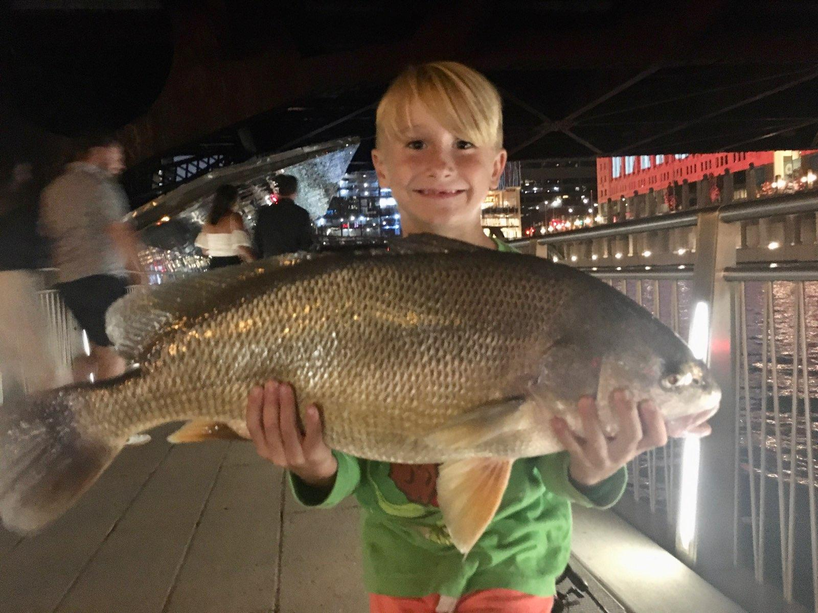 Jack Caunter, 7, his big freshwater drum caught and released on the Chicago River downtown. Provided photo
