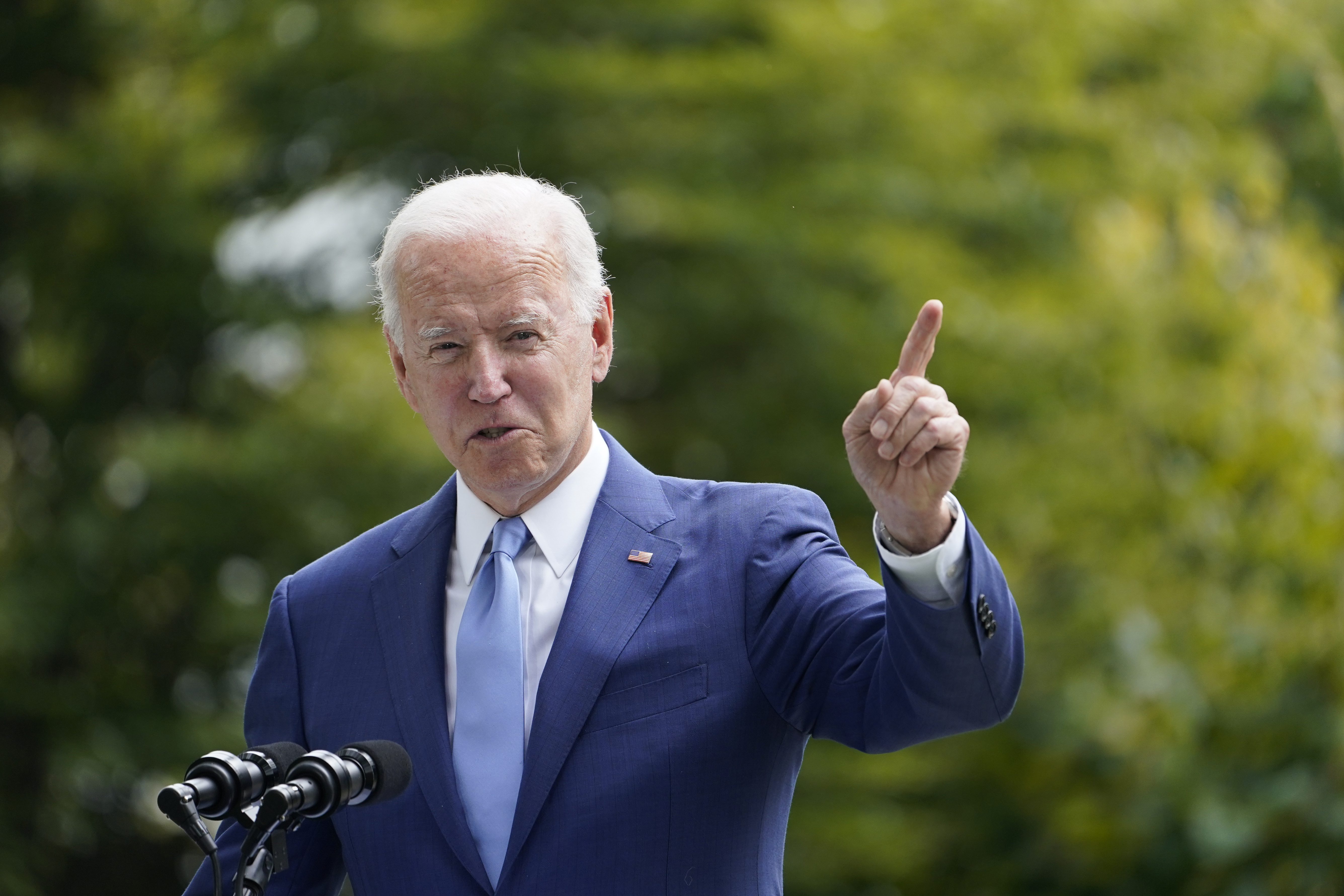 President Joe Biden speaks outside the White House in Washington on Friday, Oct. 8, 2021. Biden's honeymoon period came to an end this summer, due, in part, to the rise of the delta variant and a chaotic U.S. exit from Afghanistan. But even as new reported COVID-19 cases and hospitalizations fall and attention on Afghanistan fades, his approval rating hasn't bounced back.