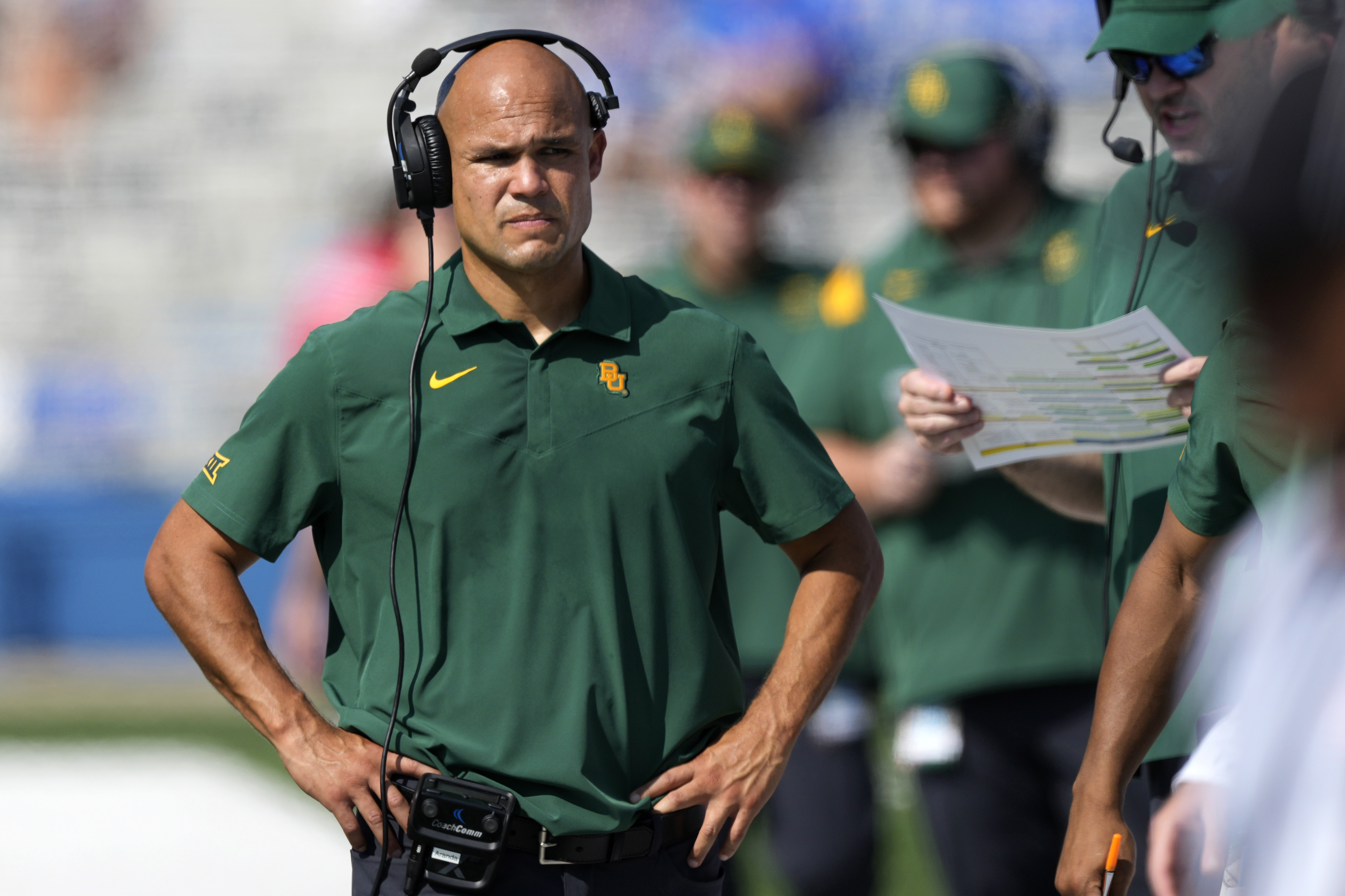 Baylor head coach Dave Aranda walks the sidelines during game against Kansas in Lawrence, Kan., Saturday, Sept. 18 2021.