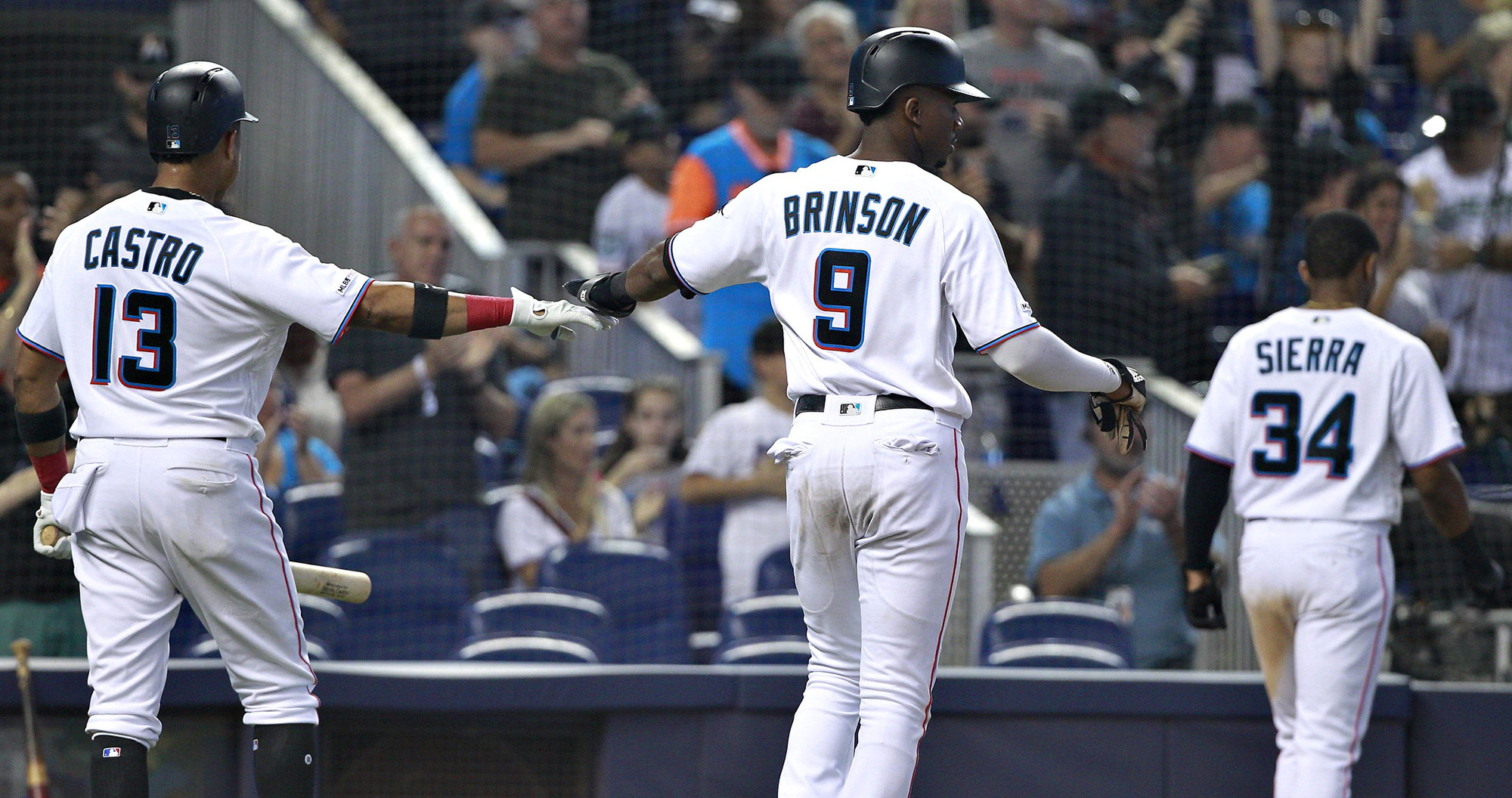Lewis Brinson and Magneuris Sierra scoring in the bottom of the seventh as the Marlins defeated the Washington Nationals