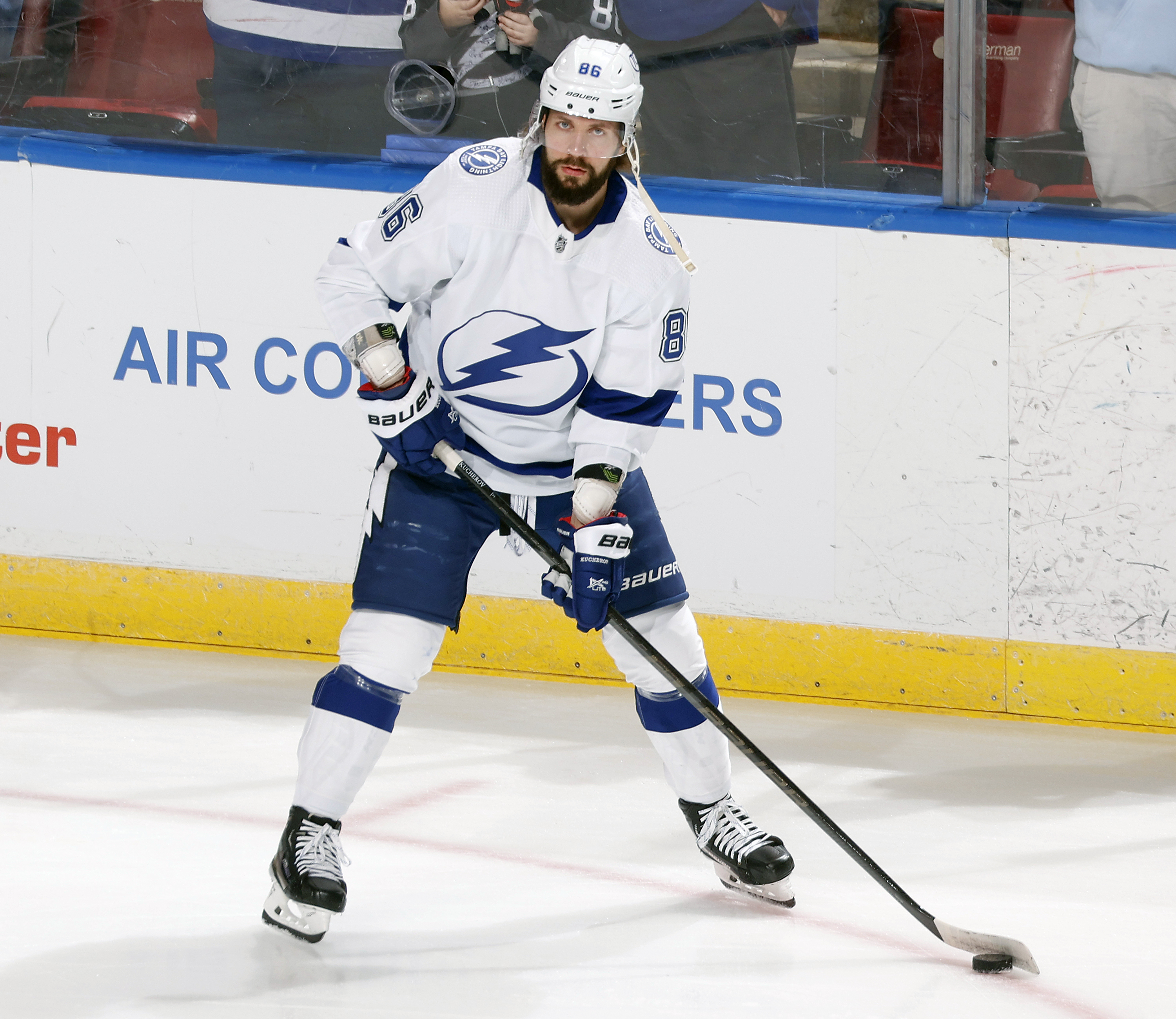 Nikita Kucherov of the Tampa Bay Lightning skates prior to an NFL preseason game against the Florida Panthers at the FLA Live Arena on October 9, 2021 in Sunrise, Florida.