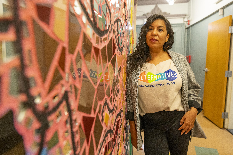 Bessie Alcantara, Executive Director of Alternatives, Inc., stands inside Alternatives Uptown location, Monday, Oct. 11, 2021. | Tyler LaRiviere/Sun-Times