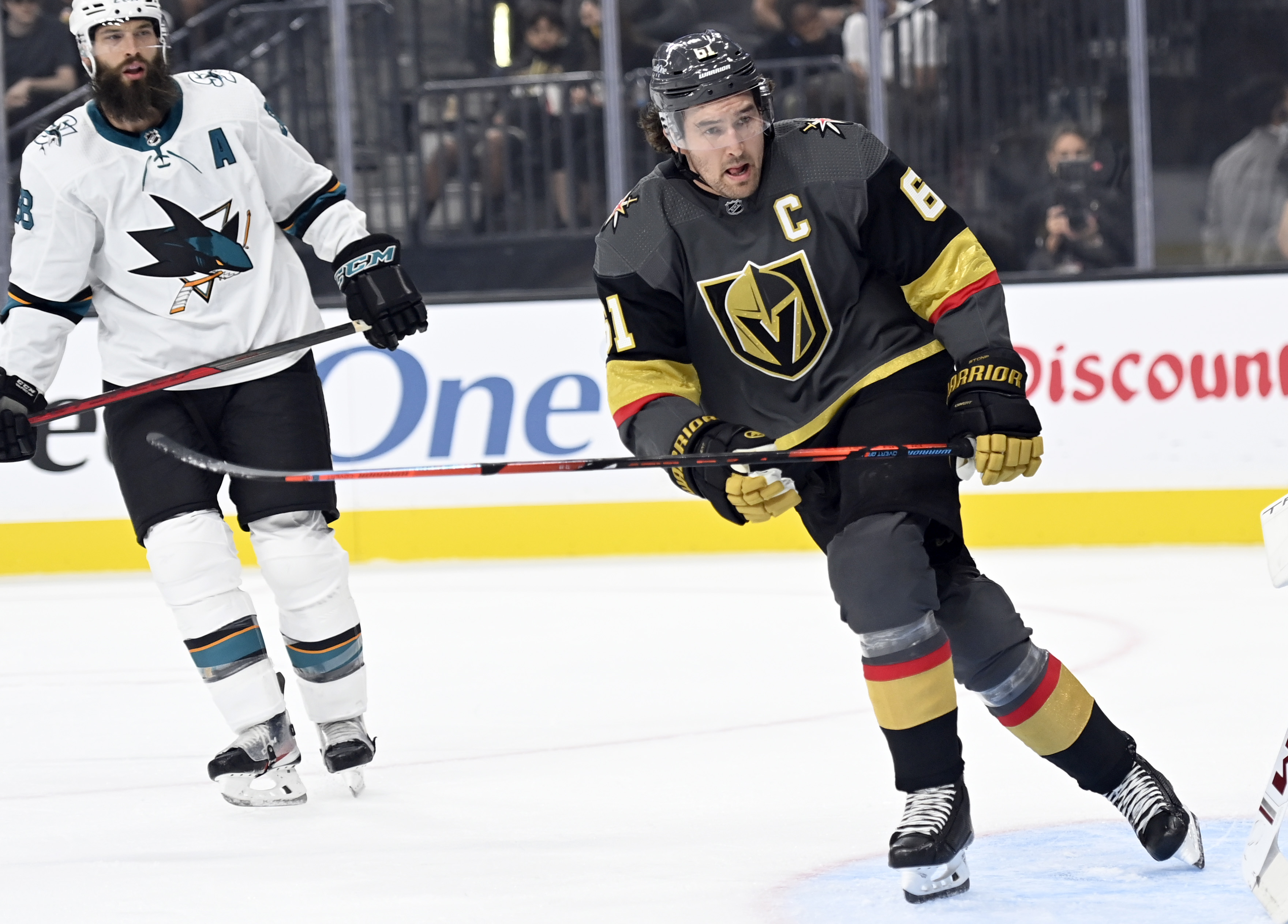 Mark Stone #61 of the Vegas Golden Knights skates during the first period against the San Jose Sharks at T-Mobile Arena on September 26, 2021 in Las Vegas, Nevada.
