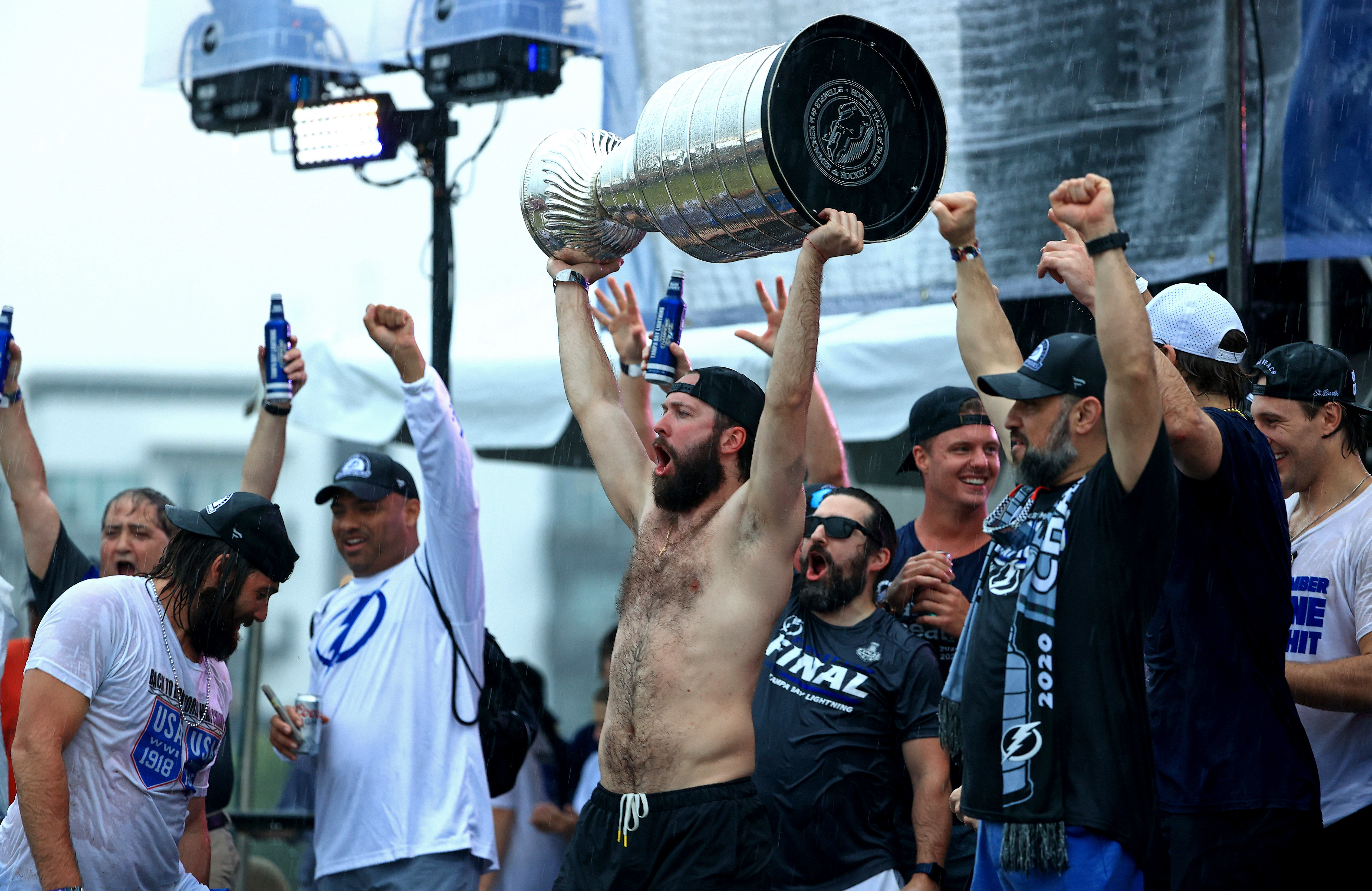 Nikita Kucherov of the Tampa Bay Lightning celebrates during the Stanley Cup victory rally at Julian B. Lane Riverfront Park on July 12, 2021 in Tampa, Florida.