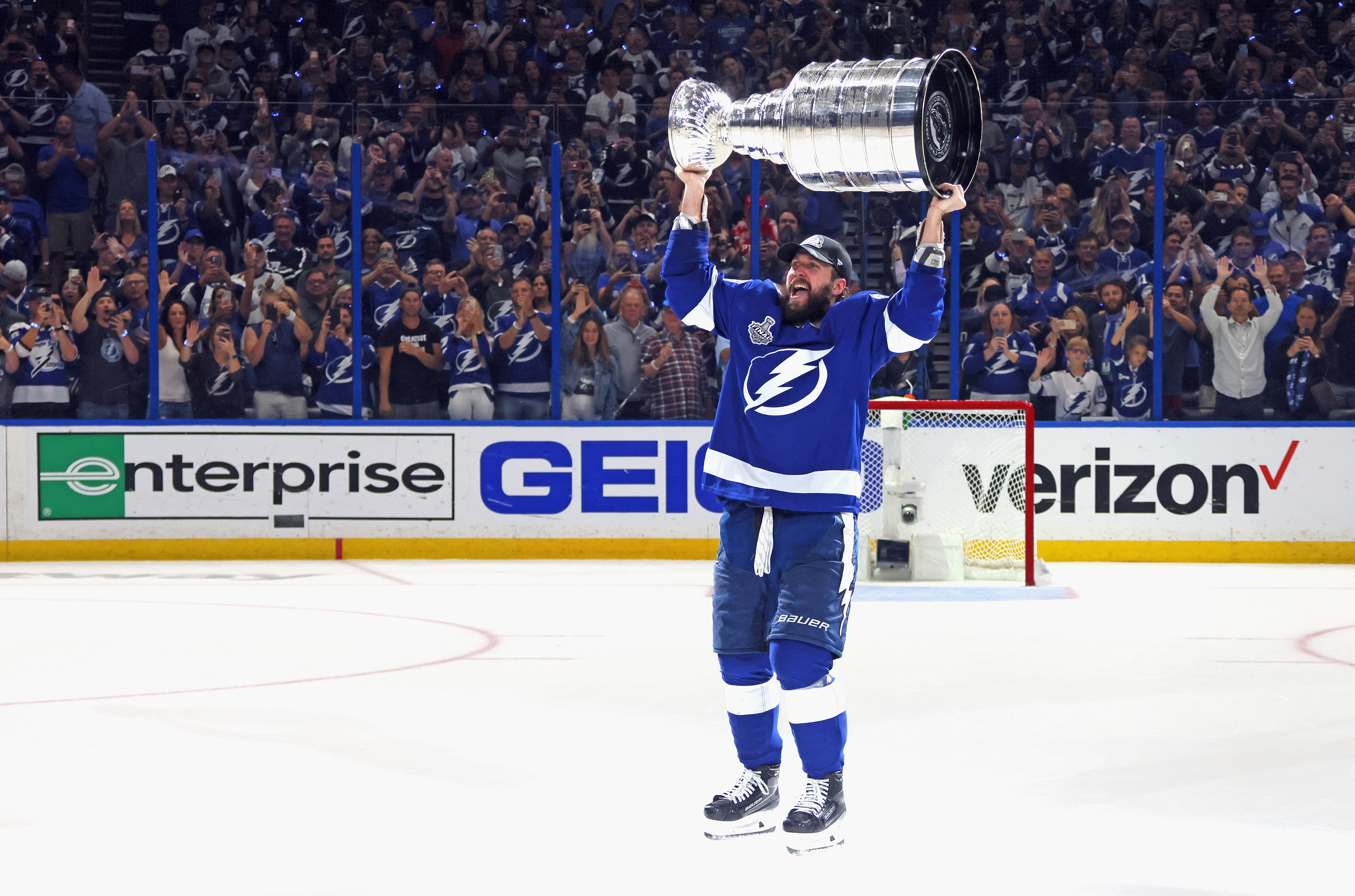 Nikita Kucherov #86 of the Tampa Bay Lightning celebrates with the Stanley Cup following the victory over the Montreal Canadiens in Game Five of the 2021 NHL Stanley Cup Final at the Amalie Arena on July 07, 2021 in Tampa, Florida. The Lightning defeated the Canadiens 1-0 to take the series four games to one.