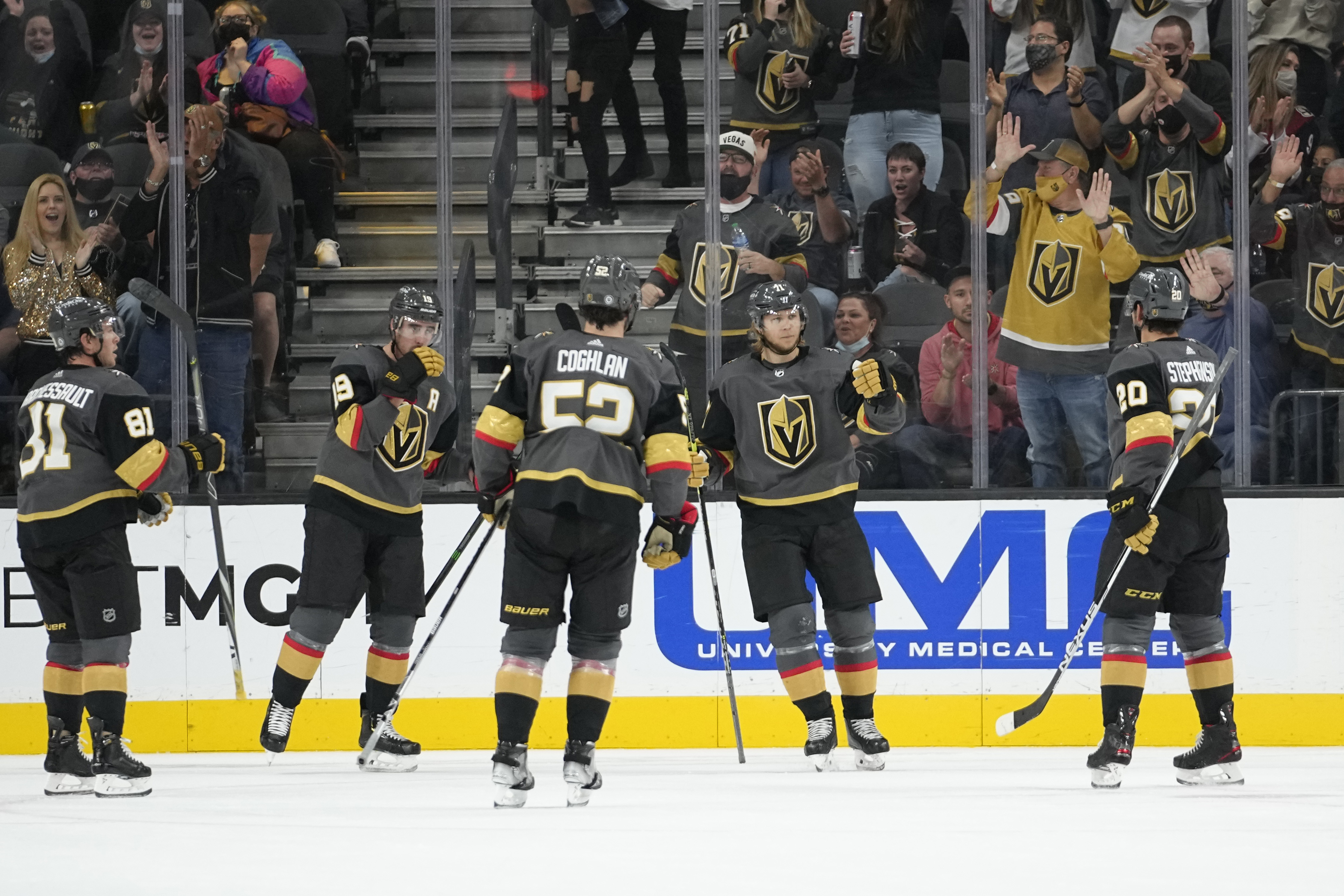 William Karlsson (71) celebrates a goal on the ice with 4 of his teammates.