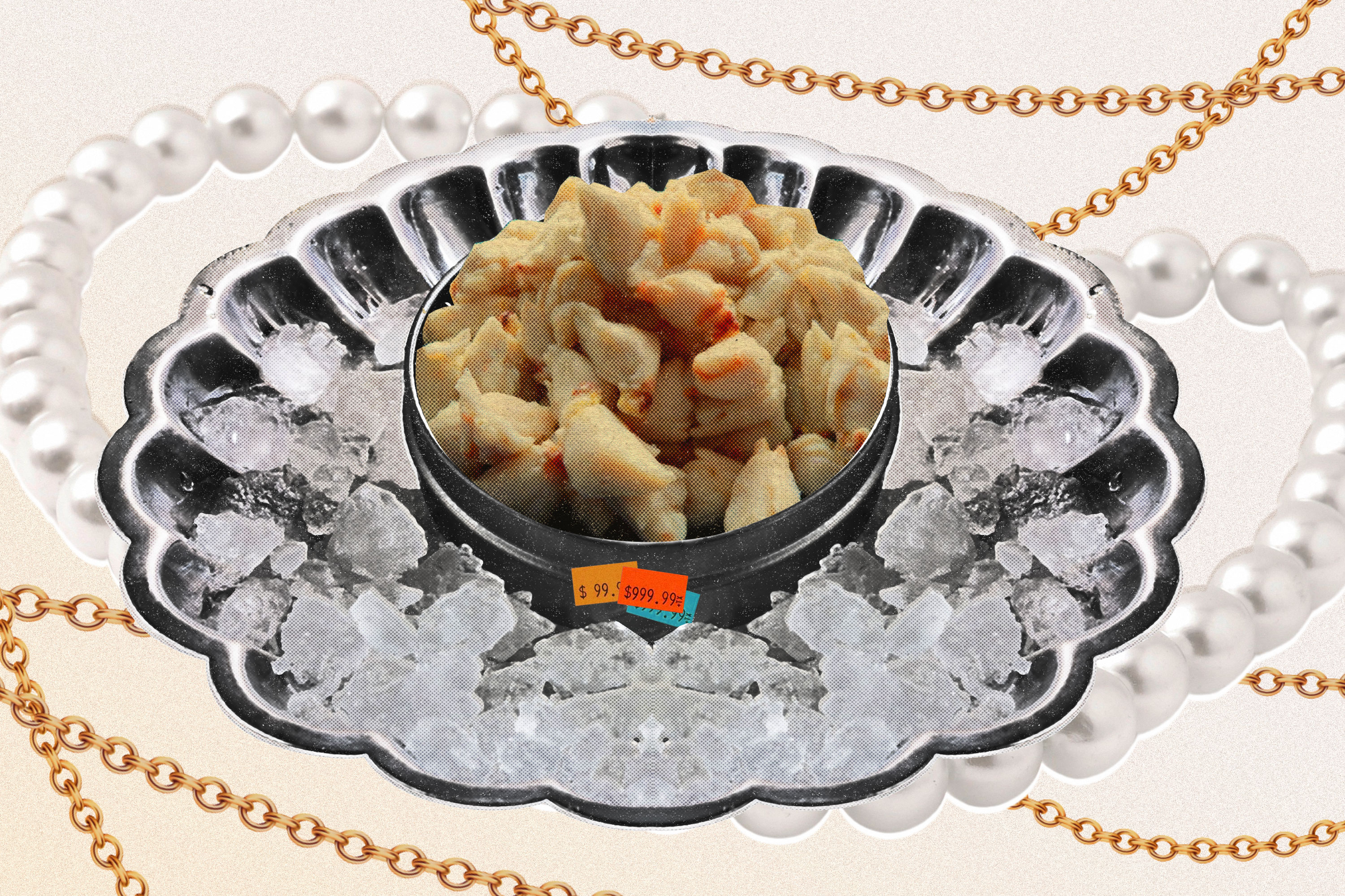 An illustration depicts crab meat in an iced serving vessel typically reserved for caviar.