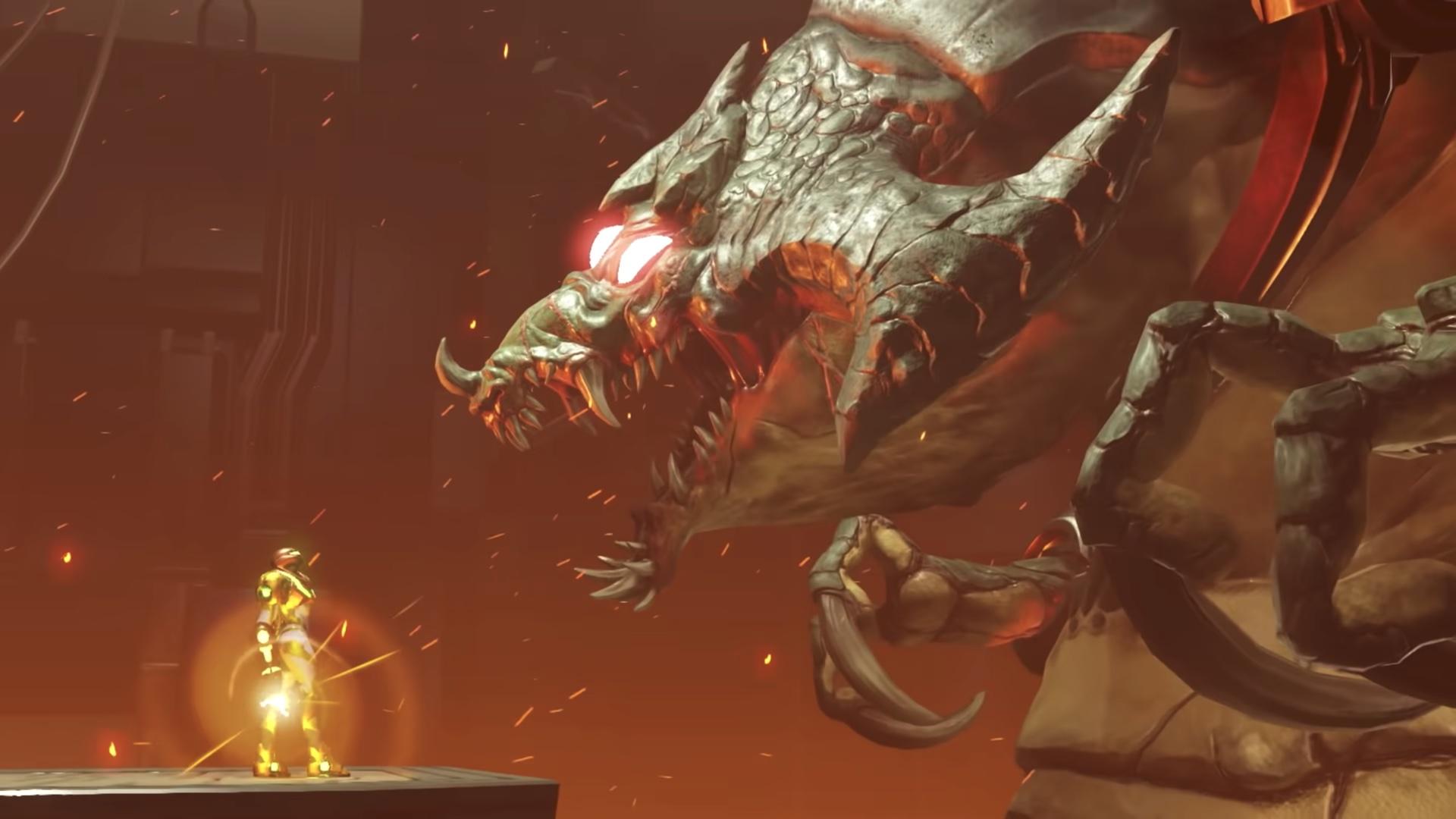 Samus Aran faces down a chained Kraid in Metroid Dread