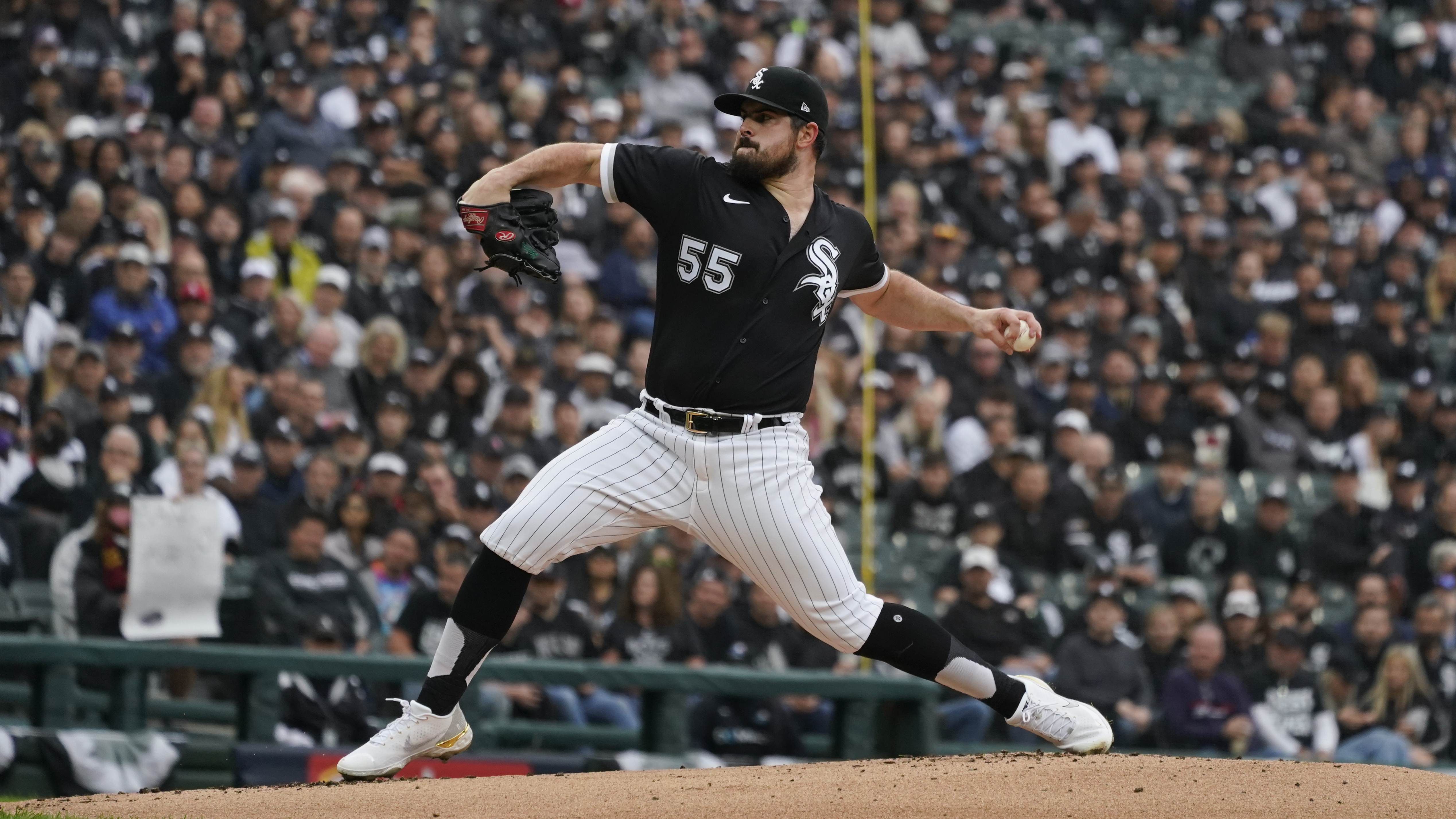 White Sox pitcher Carlos Rodon throws against the Houston Astros Tuesday in the first inning of ALDS Game 4 against the Astros.