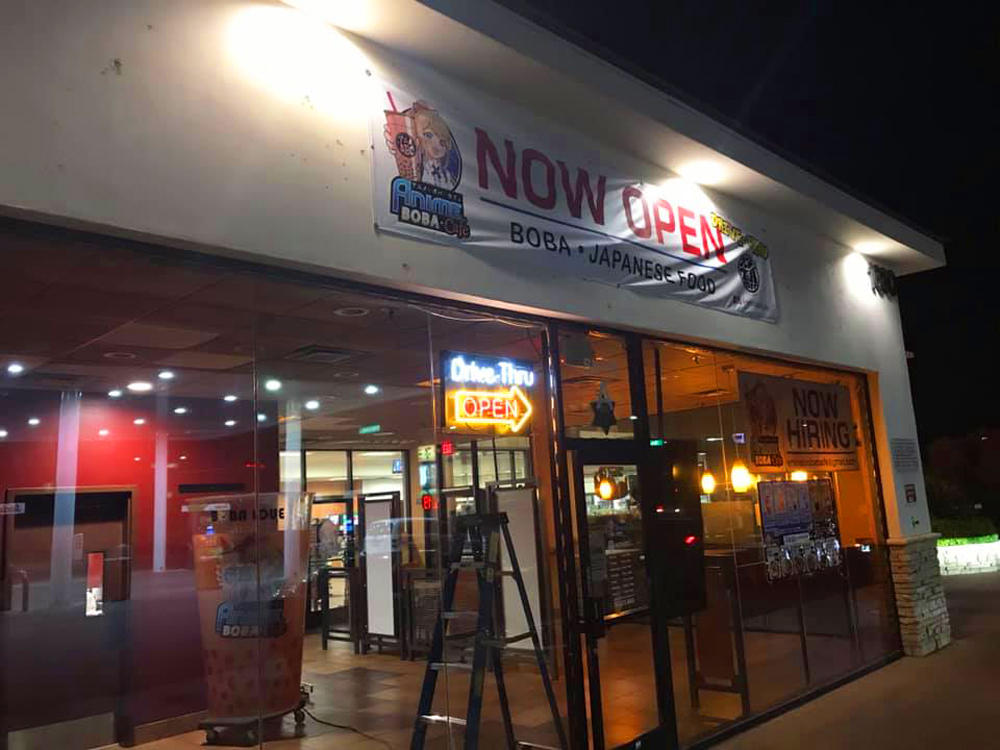 The exterior of the newly opened Anime Boba Cafe, offering drive-thru service before ti debuts the main restaurant.