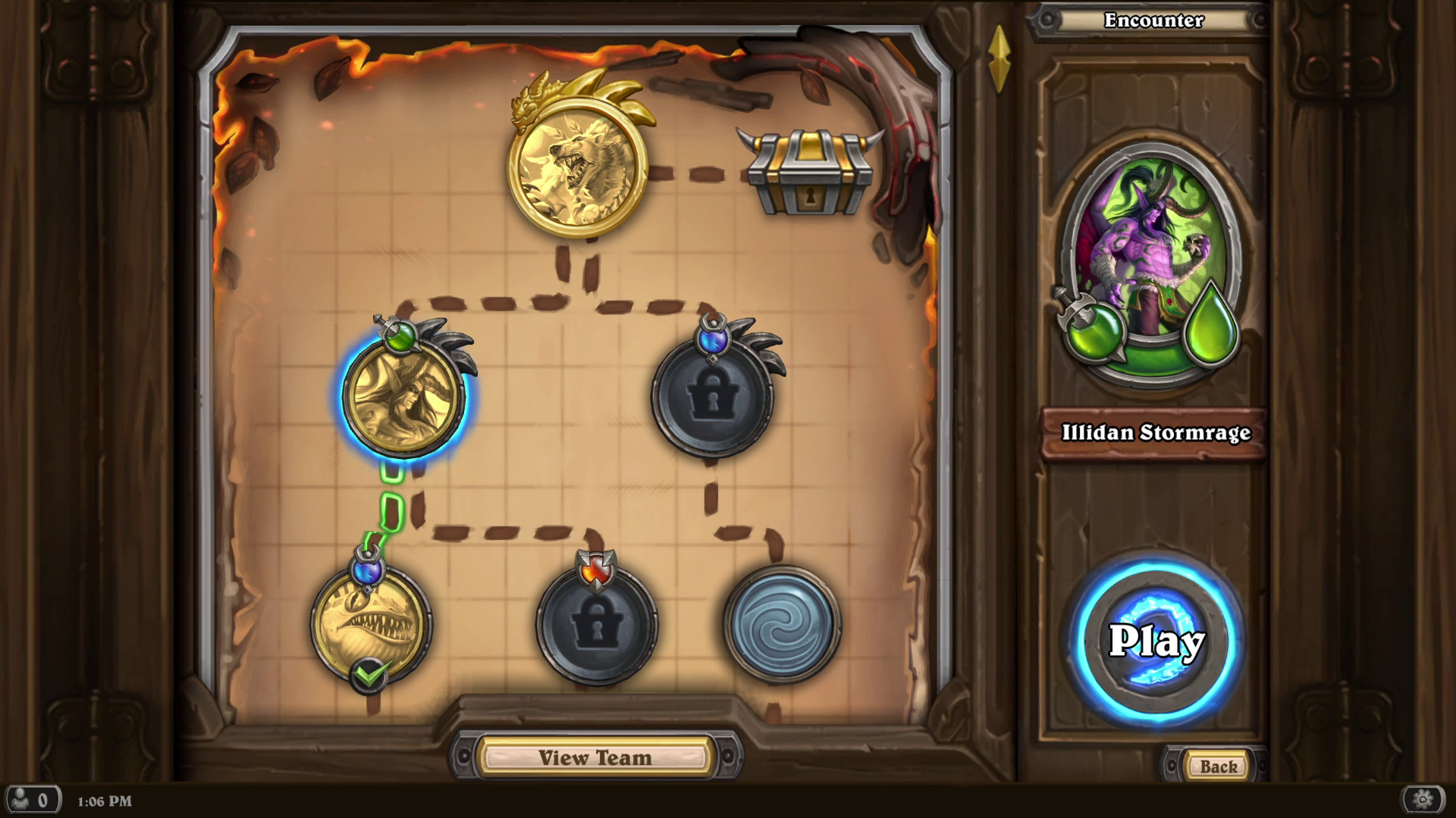 Hearthstone - a shot of a Mercenaries run in progress, with fights on a map connected by dotted lines ultimately leading to a final boss and then loot