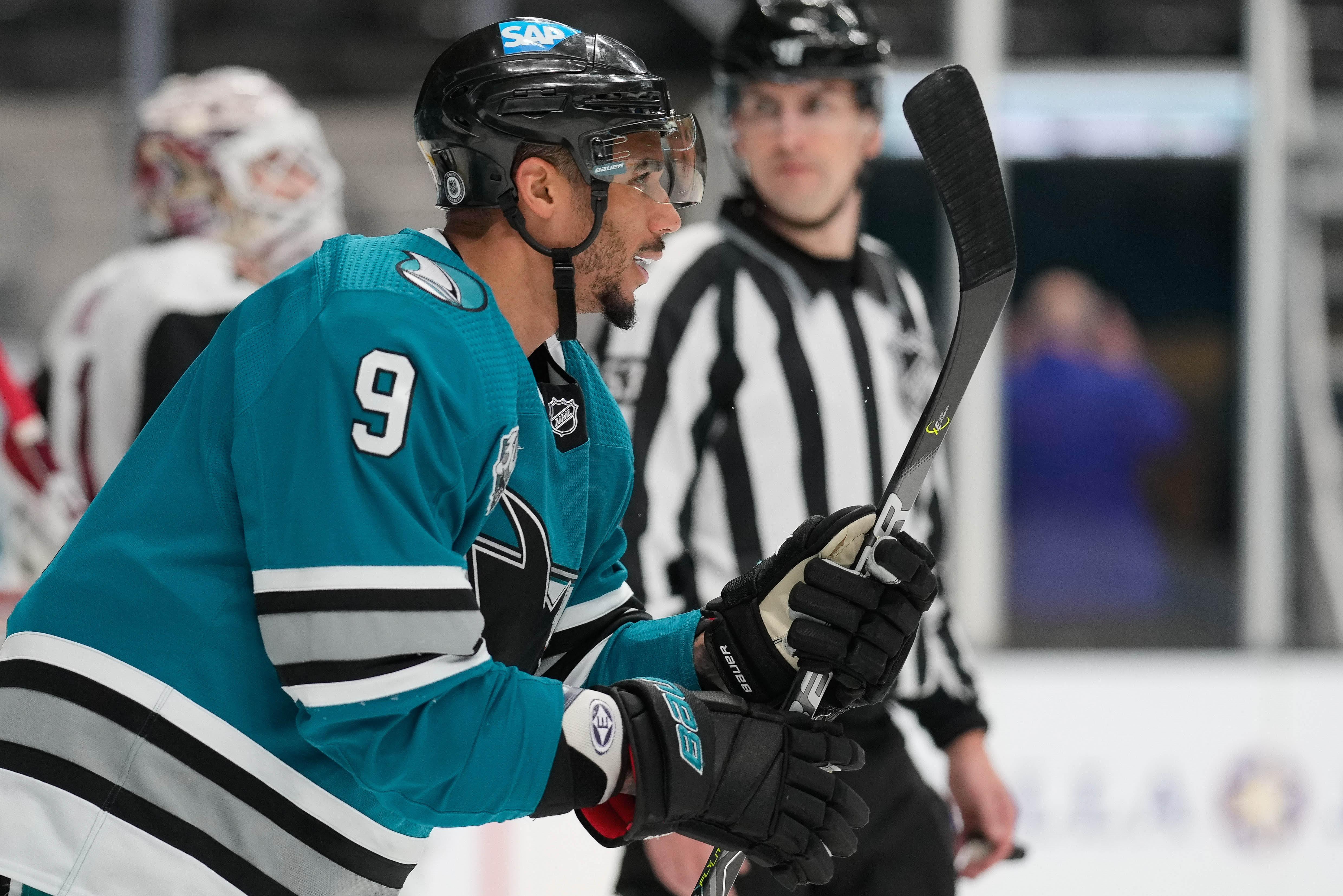 San Jose Sharks left wing Evander Kane (9) during the third period against the Arizona Coyotes at SAP Center at San Jose.