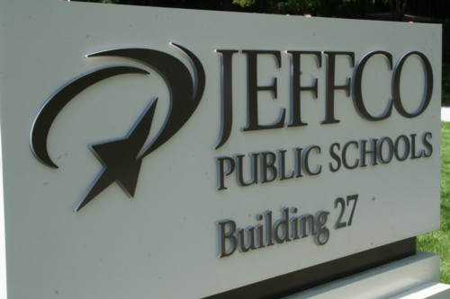 """An outdoor sign saying """"Jeffco Public Schools Building 27"""""""