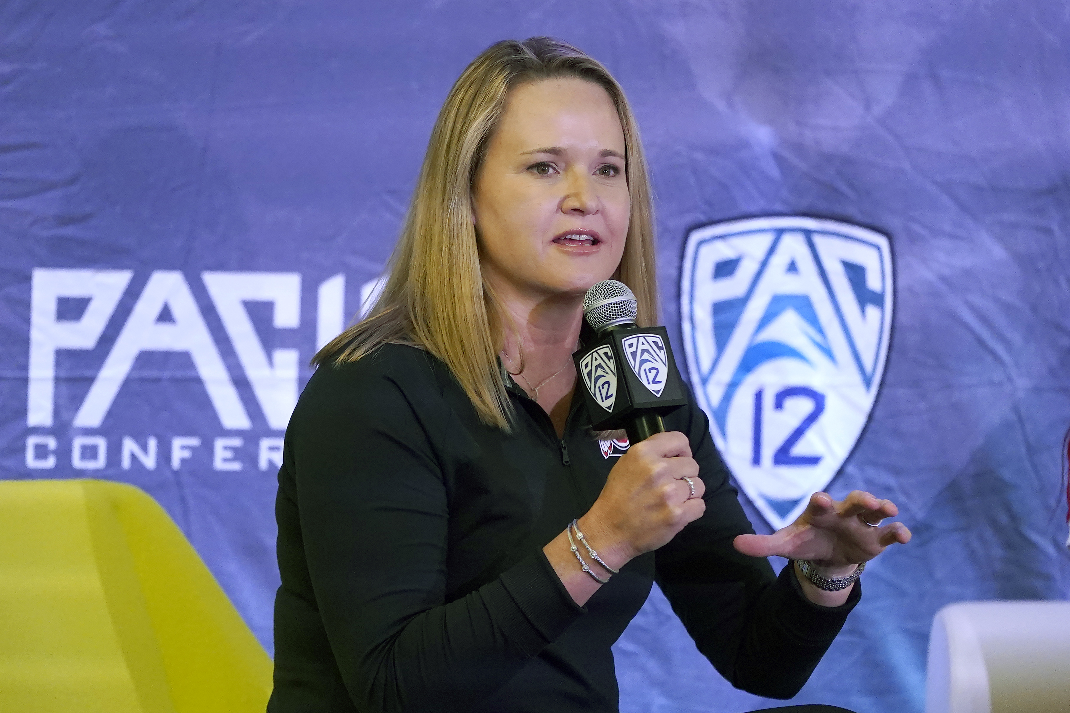 Utah coach Lynne Roberts speaks during Pac-12 media day Tuesday, Oct. 12, 2021, in San Francisco.