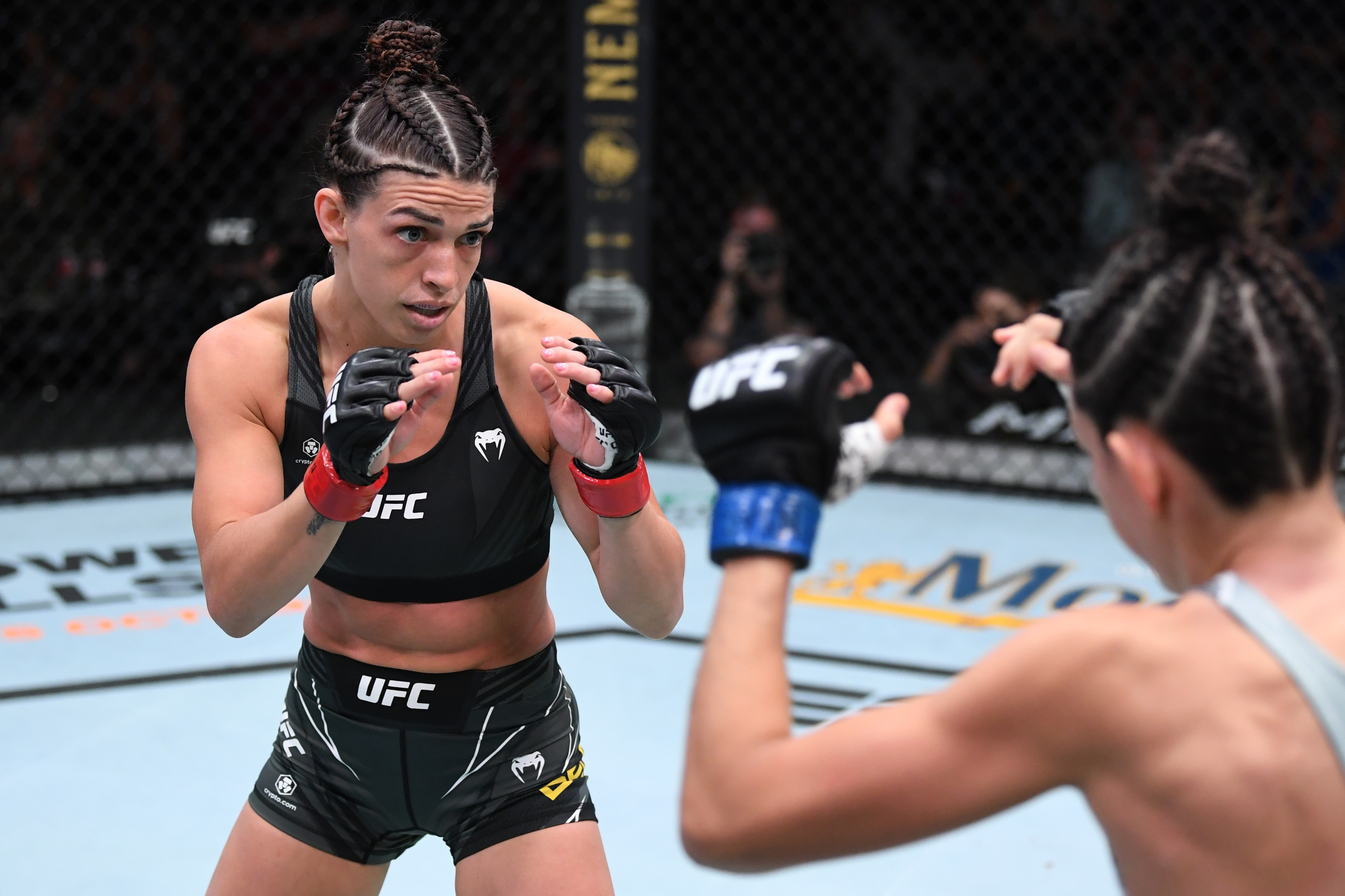 Mackenzie Dern during her fight with Marina Rodriguez at UFC Vegas 39.