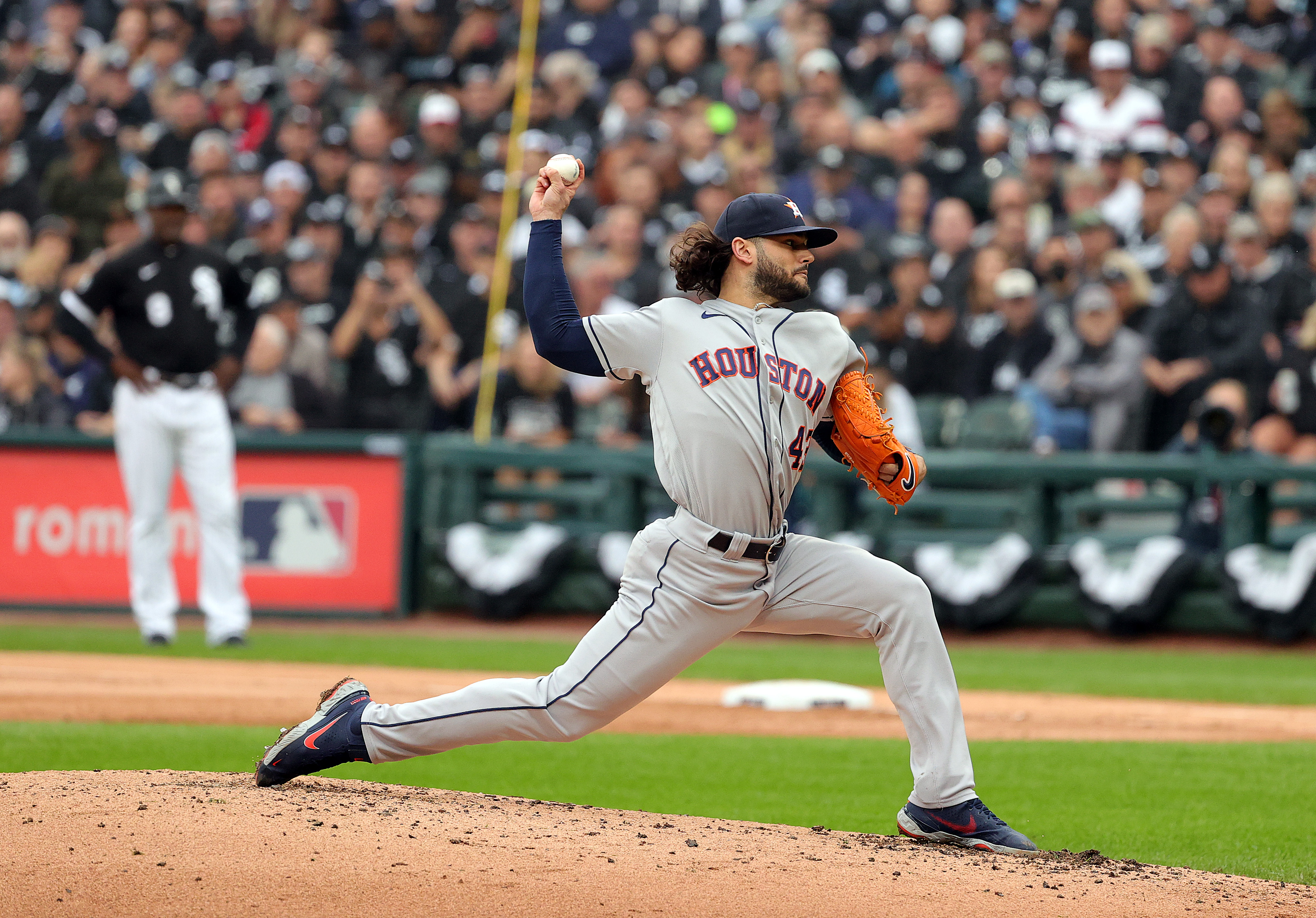 Starting pitcher Lance McCullers Jr. #43 of the Houston Astros pitches during the 2nd inning of Game 4 of the American League Division Series against the Chicago White Sox at Guaranteed Rate Field on October 12, 2021 in Chicago, Illinois.
