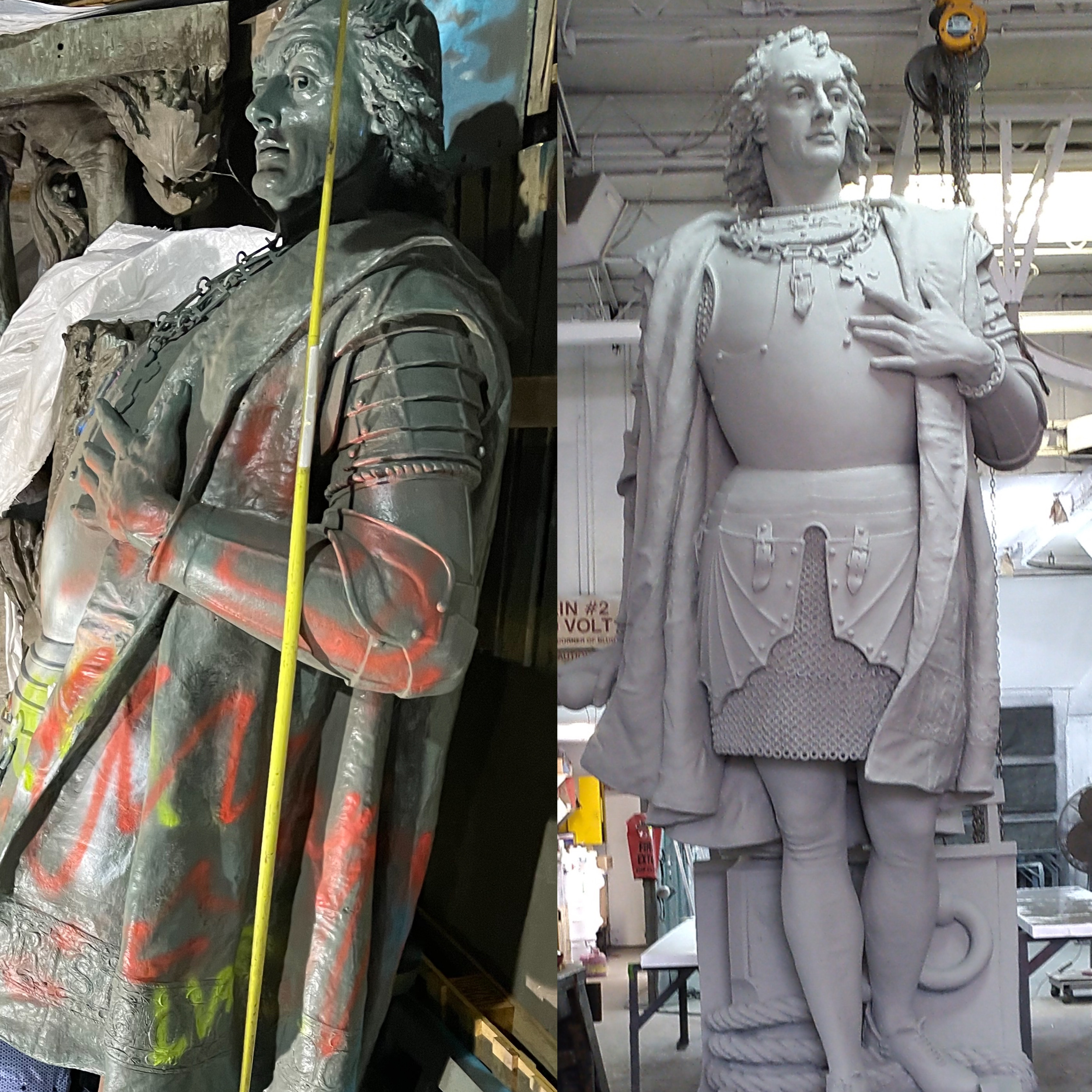 Before and after photo of Arrigo Park's Christopher Columbus statue that was restored by the Joint Civic Committee of Italian Americans.
