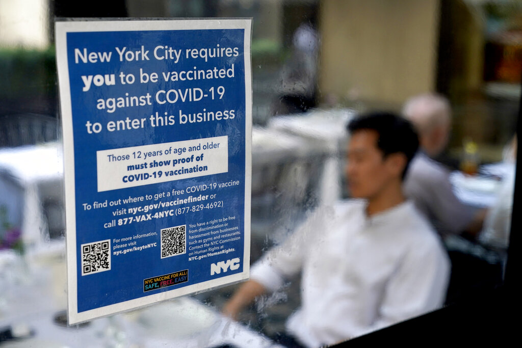 Sign indicates proof of vaccination is required in New York in September 2021.