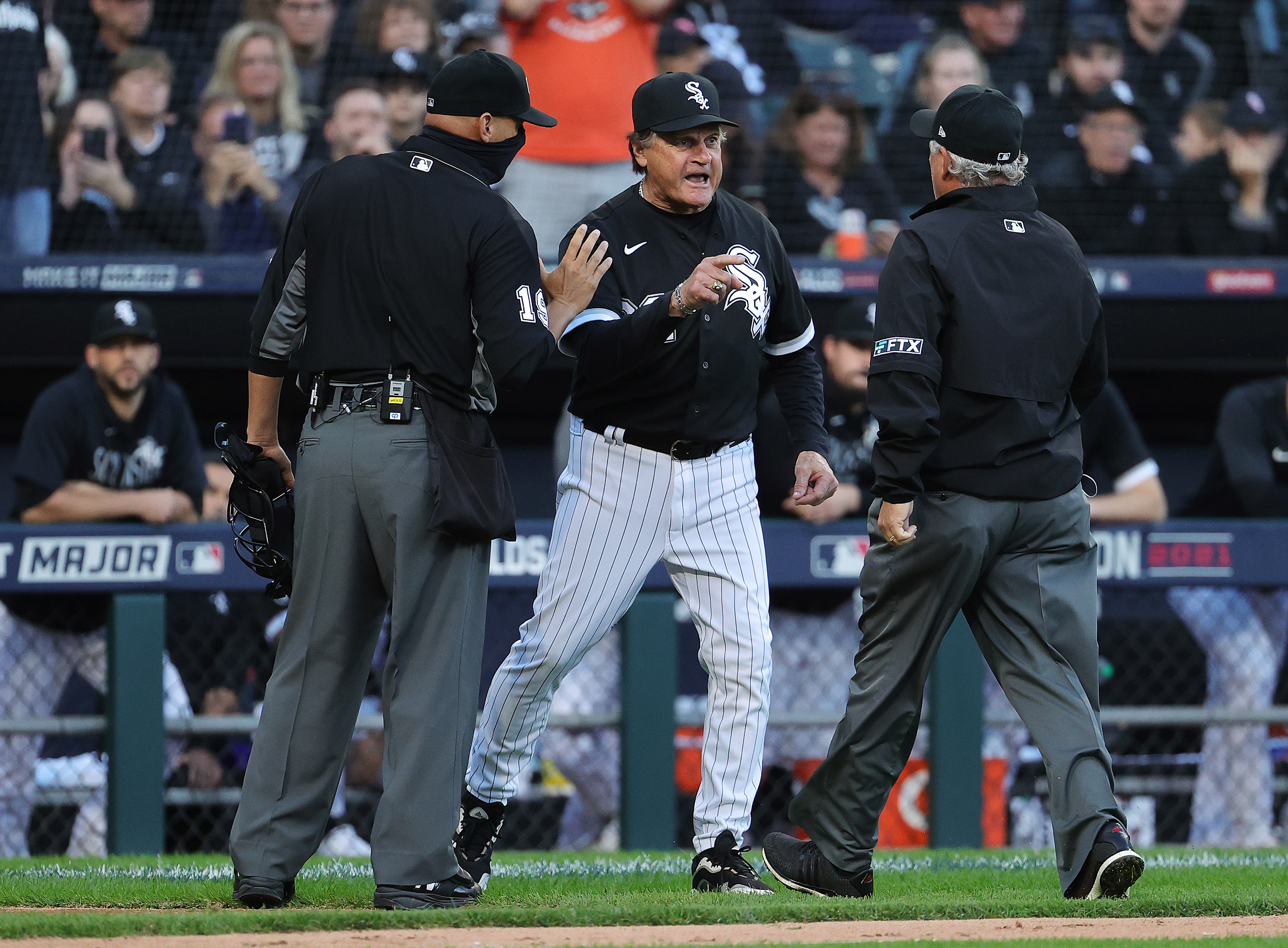 Tony La Russa begins a long argument with the umpires after Jose Abreu was hit by a pitch from the Astros' Kendall Graveman in Game 4.