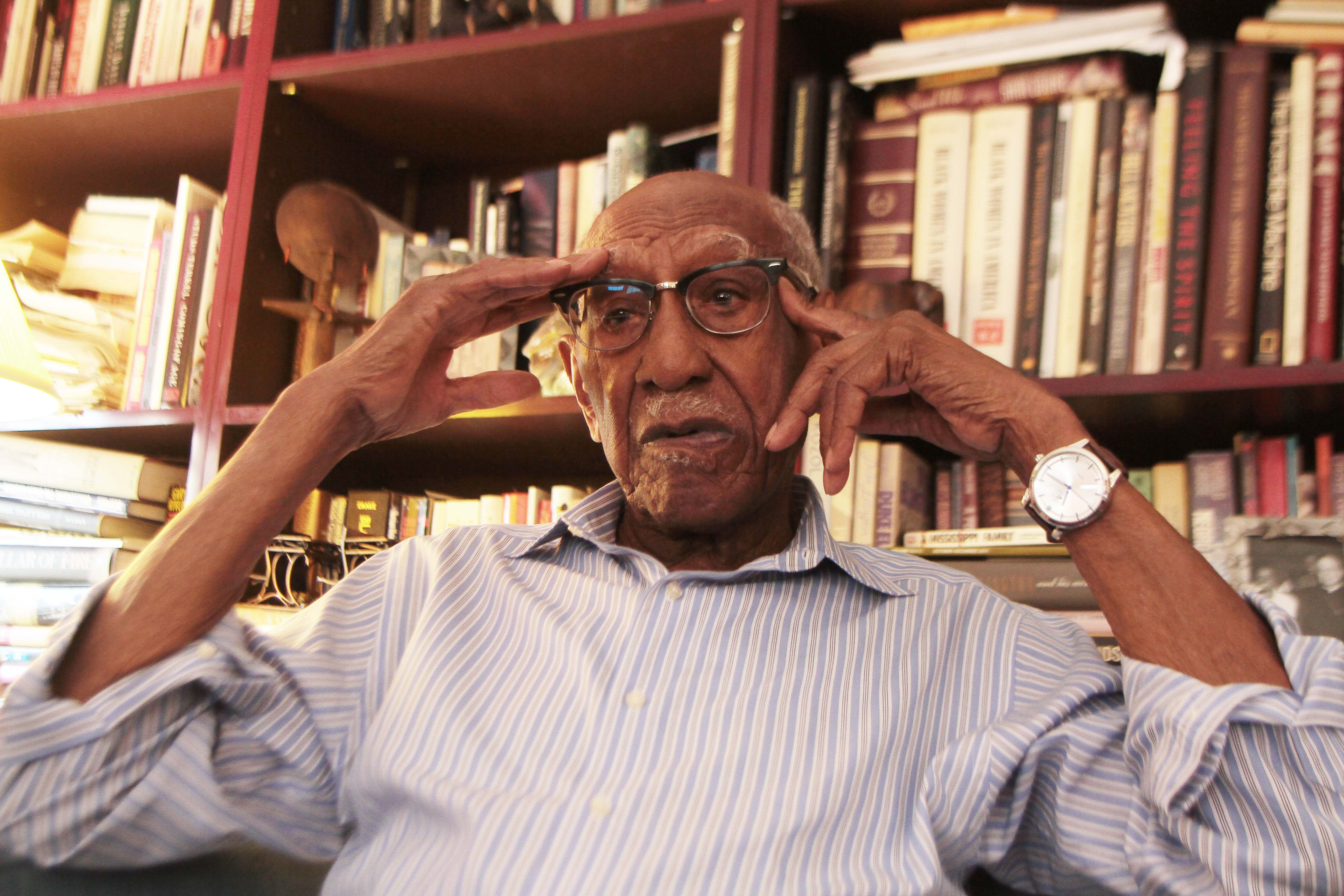 98 year old Timuel Black recalls the demonstration in Marquette Park for open housing. Black along with former alderman Dorothy Tillman and Dr. Martin Luther King, jr. were attacked by angry whites. | Leslie Adkins/For the Sun-Times