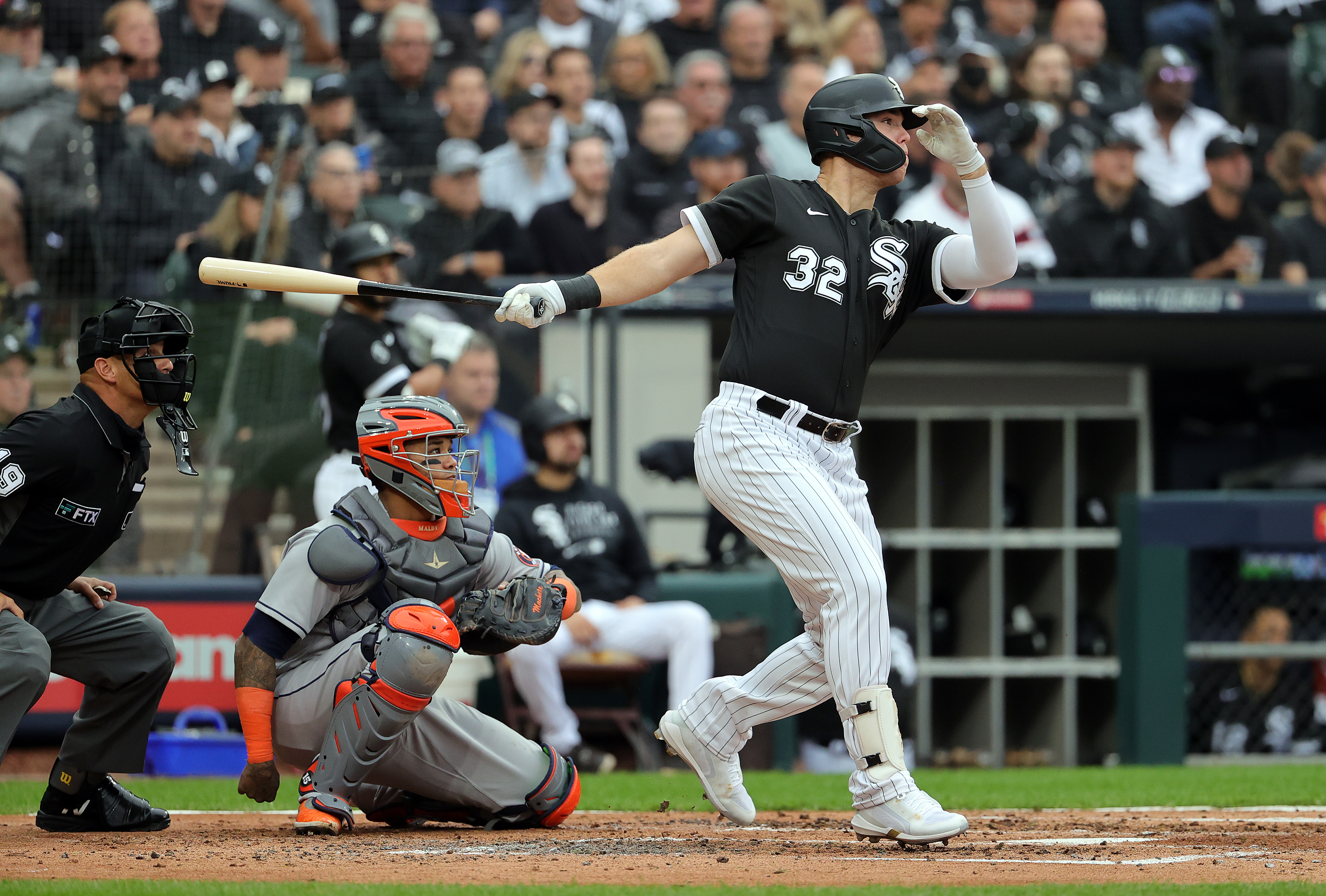 The White Sox' Gavin Sheets homers during the second inning of Game 4 of the American League Division Series at Guaranteed Rate Field.