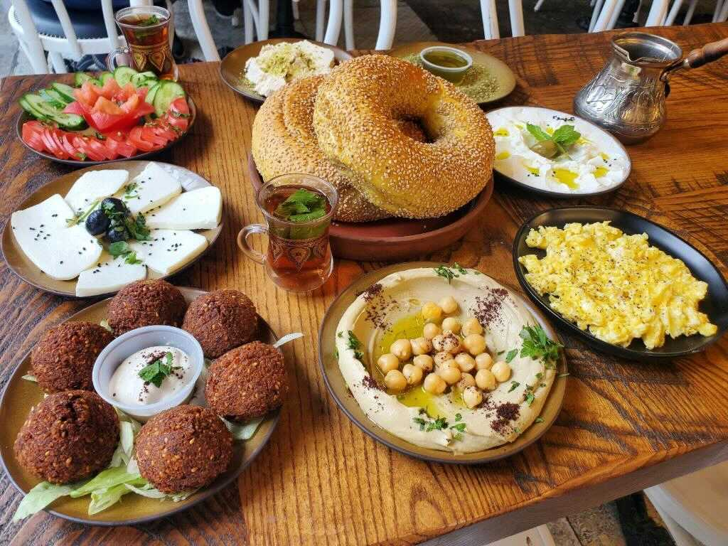 A spread of options at Ayat, a Palestinian restaurant in Bay Ridge.