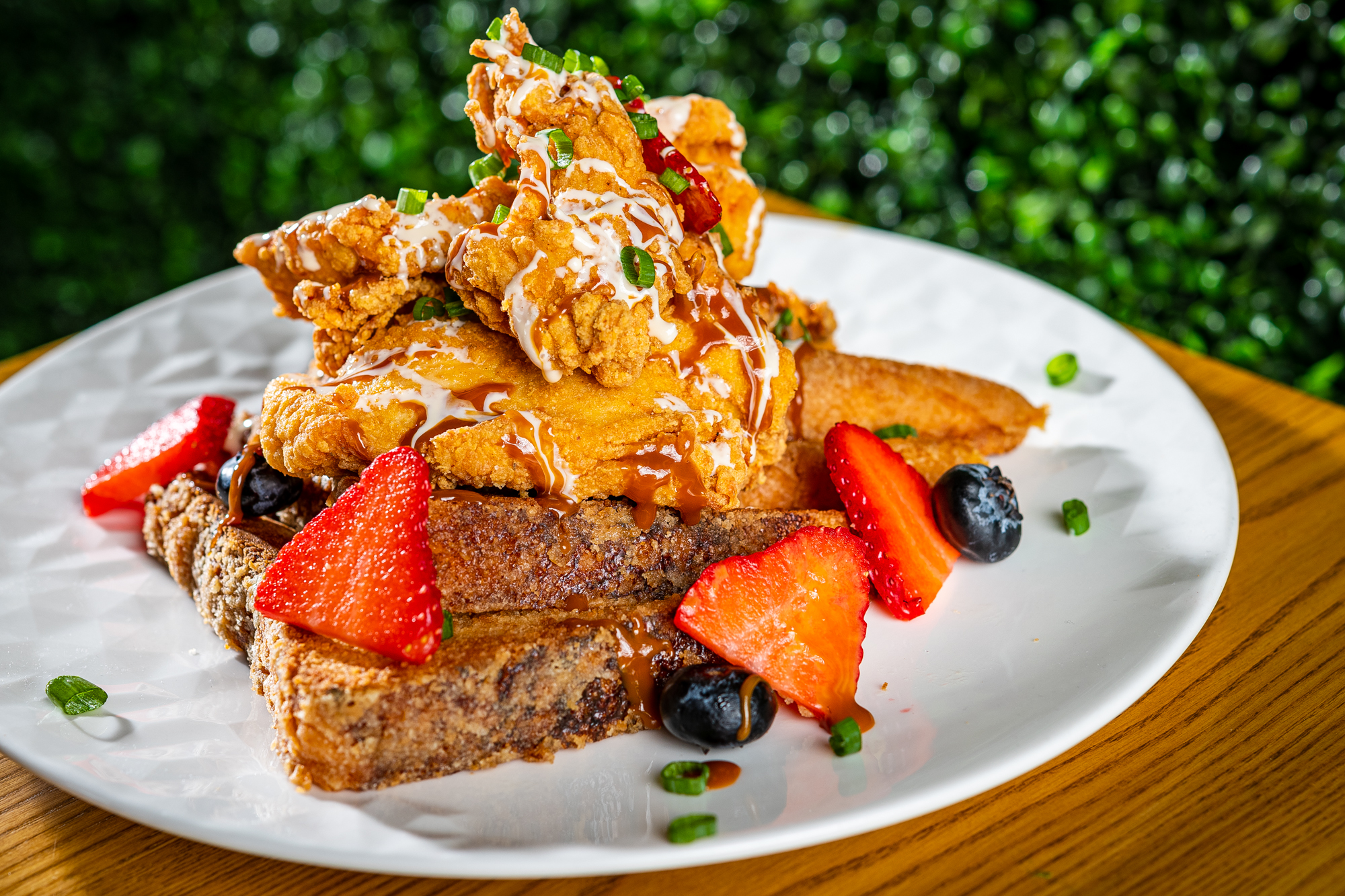 Fried chicken comes with French toast soaked in ice cream base at KitchenCray