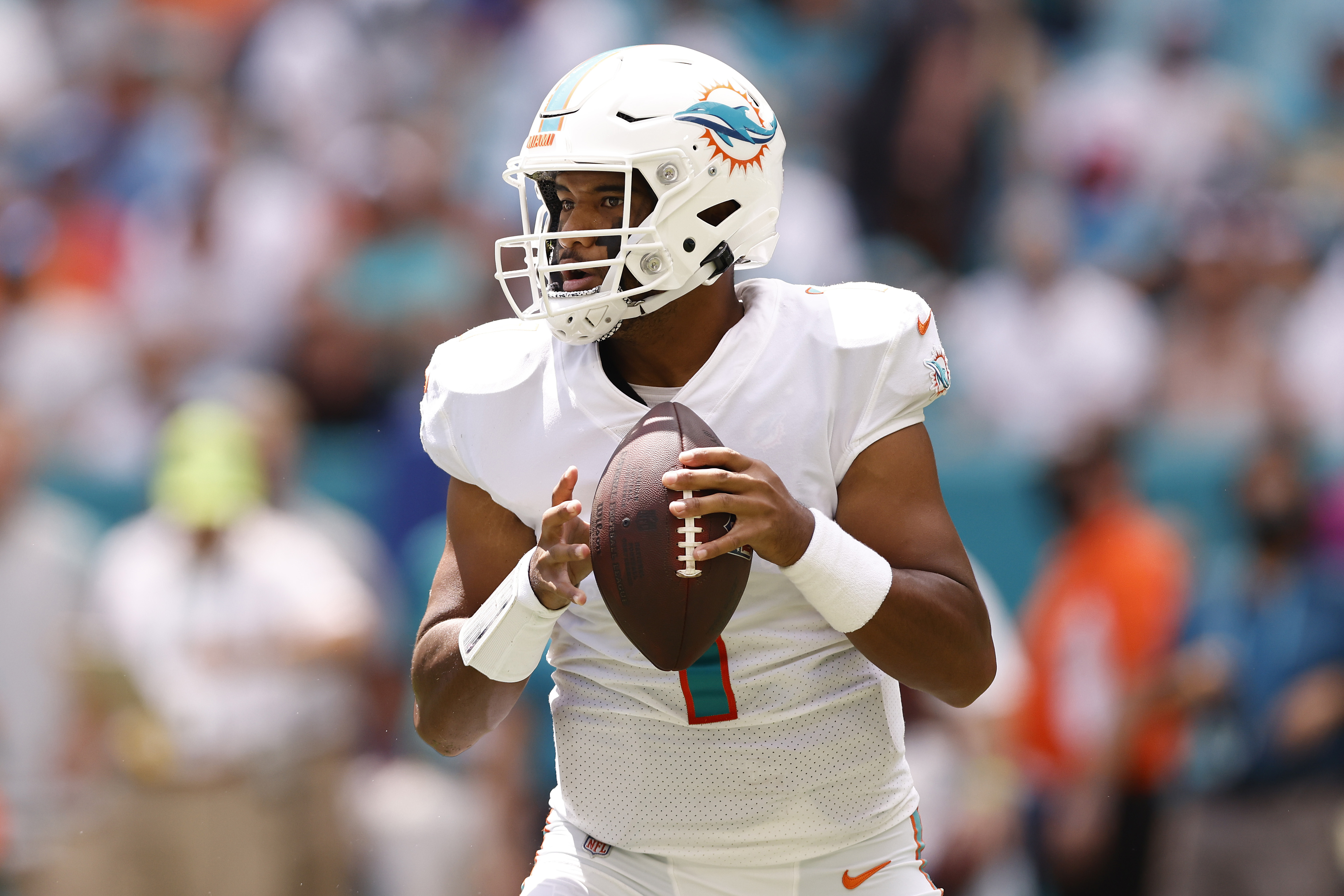 Tua Tagovailoa #1 of the Miami Dolphins looks to pass against the Buffalo Bills during the first quarter at Hard Rock Stadium on September 19, 2021 in Miami Gardens, Florida.