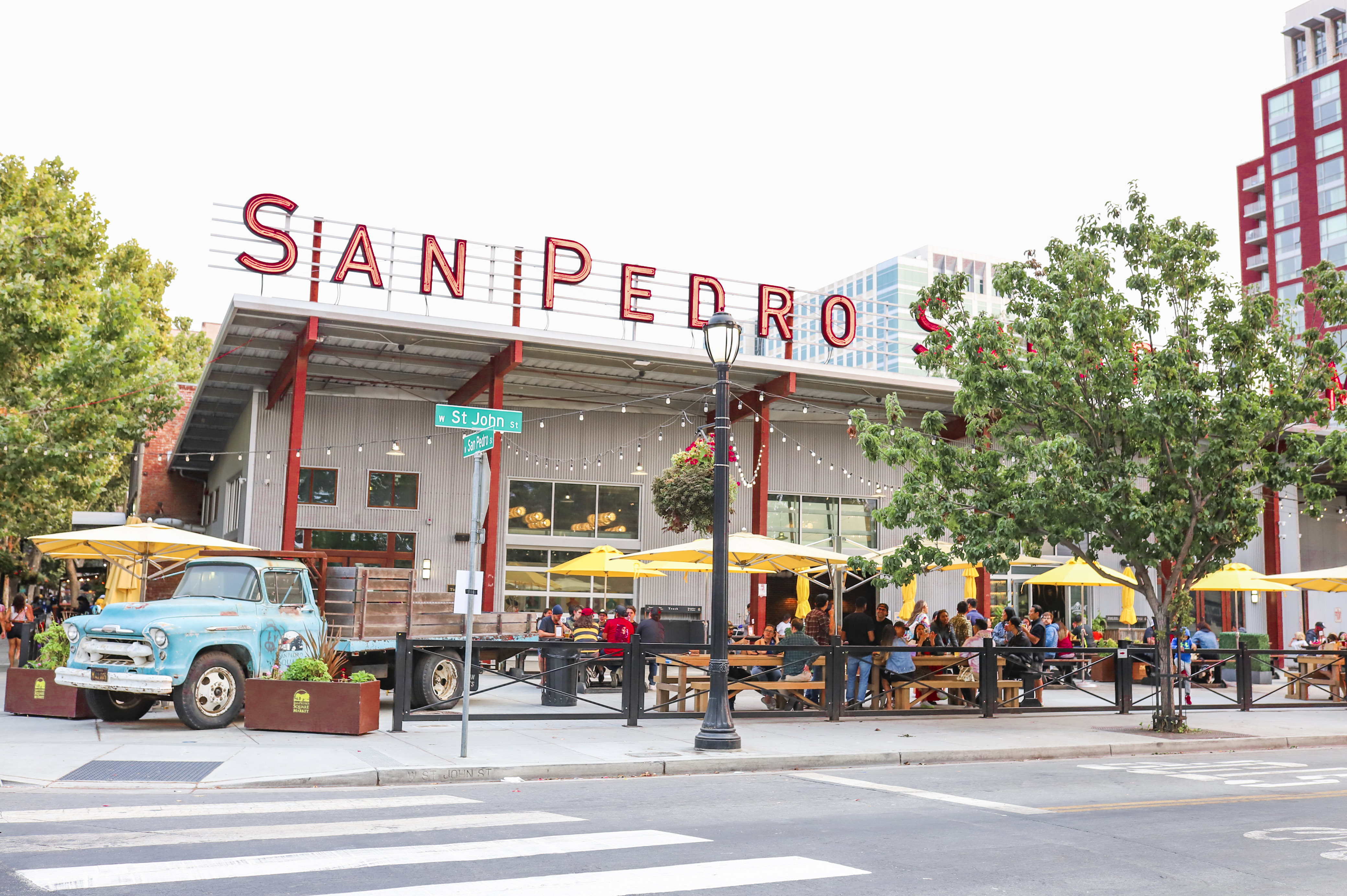 A view of San Pedro Square Market from across the street.
