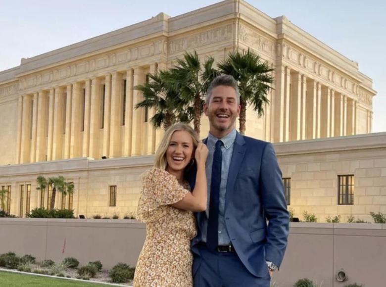 Arie Luyendyk Jr. and Lauren Burnham Luyendykat the Mesa Arizona Temple.