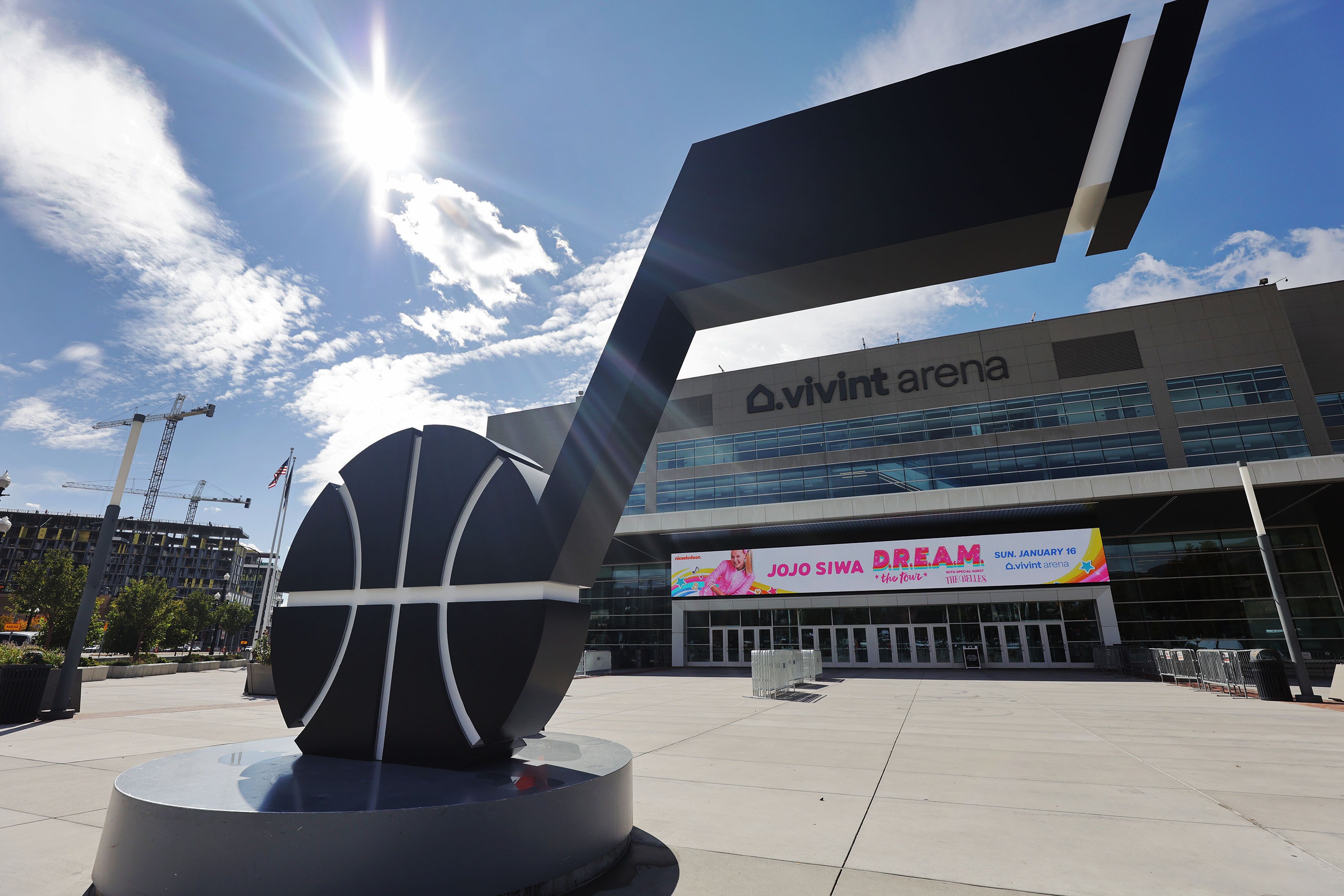 The Utah Jazz have rebranded and painted the Jazz note black and white in Salt Lake City on Wednesday, Oct. 13, 2021.