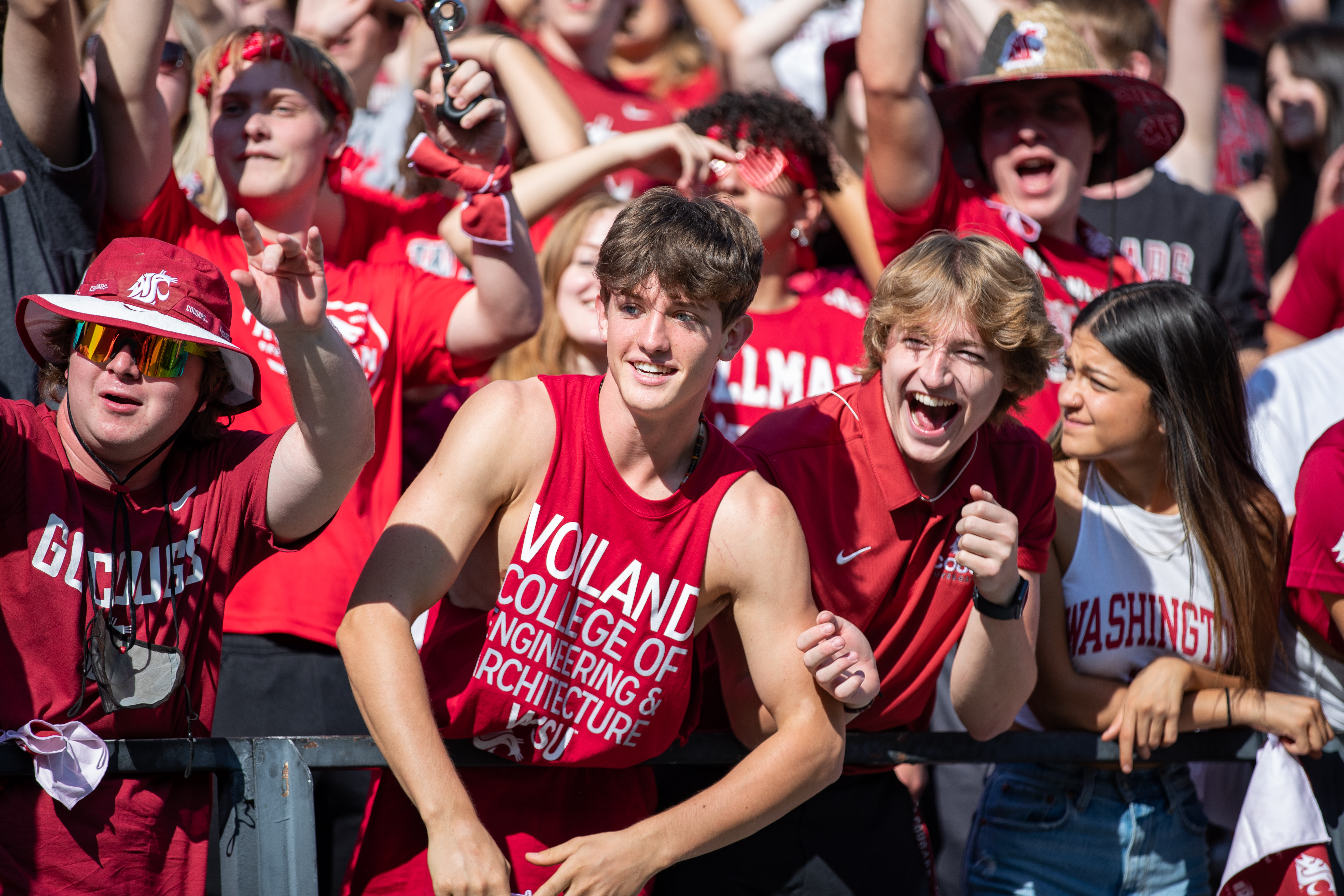 PULLMAN, WA - SEPTEMBER 11: Washington State fans cheer on their team during the first half of a non-conference matchup between the Portland State Vikings and the Washington State Cougars on September 11, 2021, at Martin Stadium in Pullman, WA.