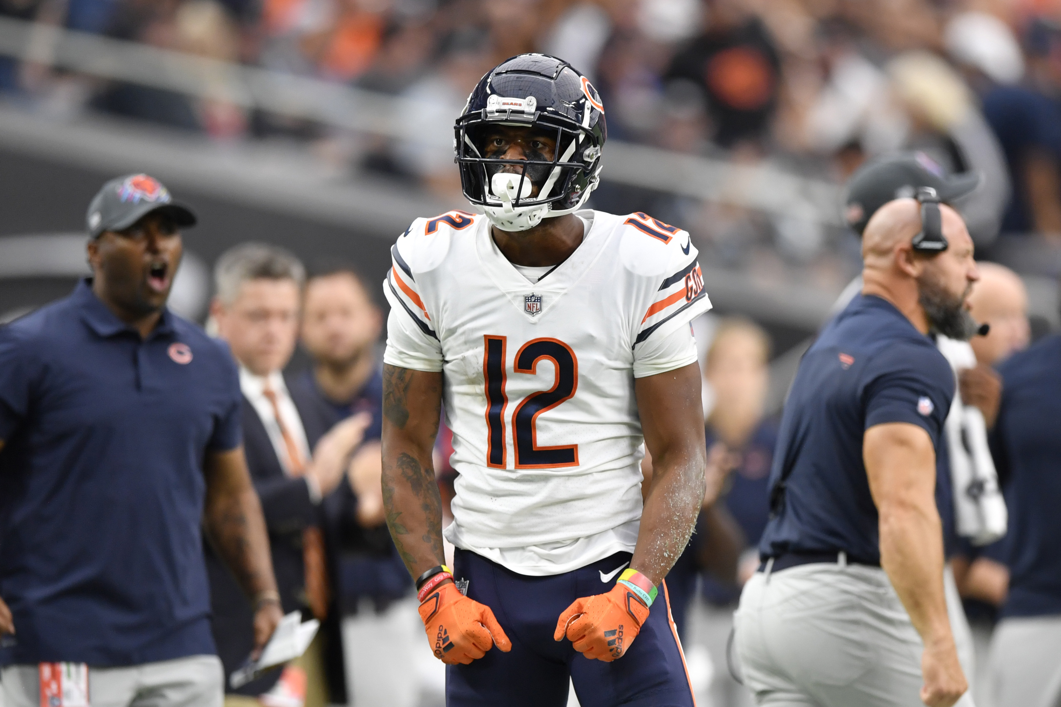 Wide receiver Allen Robinson #12 of the Chicago Bears reacts after his catch for a first down against the Las Vegas Raiders during the first half of a game at Allegiant Stadium on October 10, 2021 in Las Vegas, Nevada.