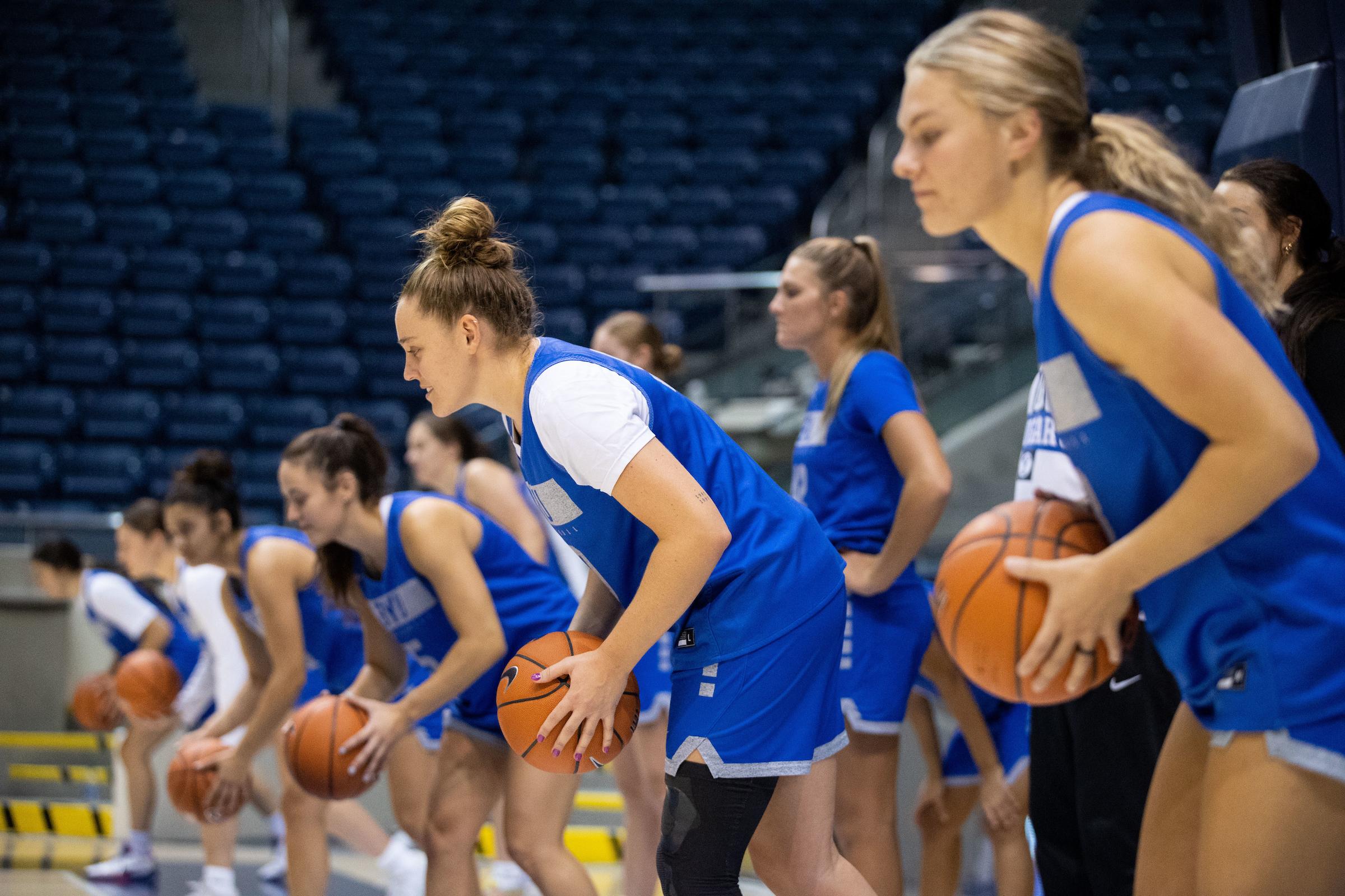 The BYU women's basketball team practice in the Marriott Center in Provo, Utah, on Sept. 2, 2021.
