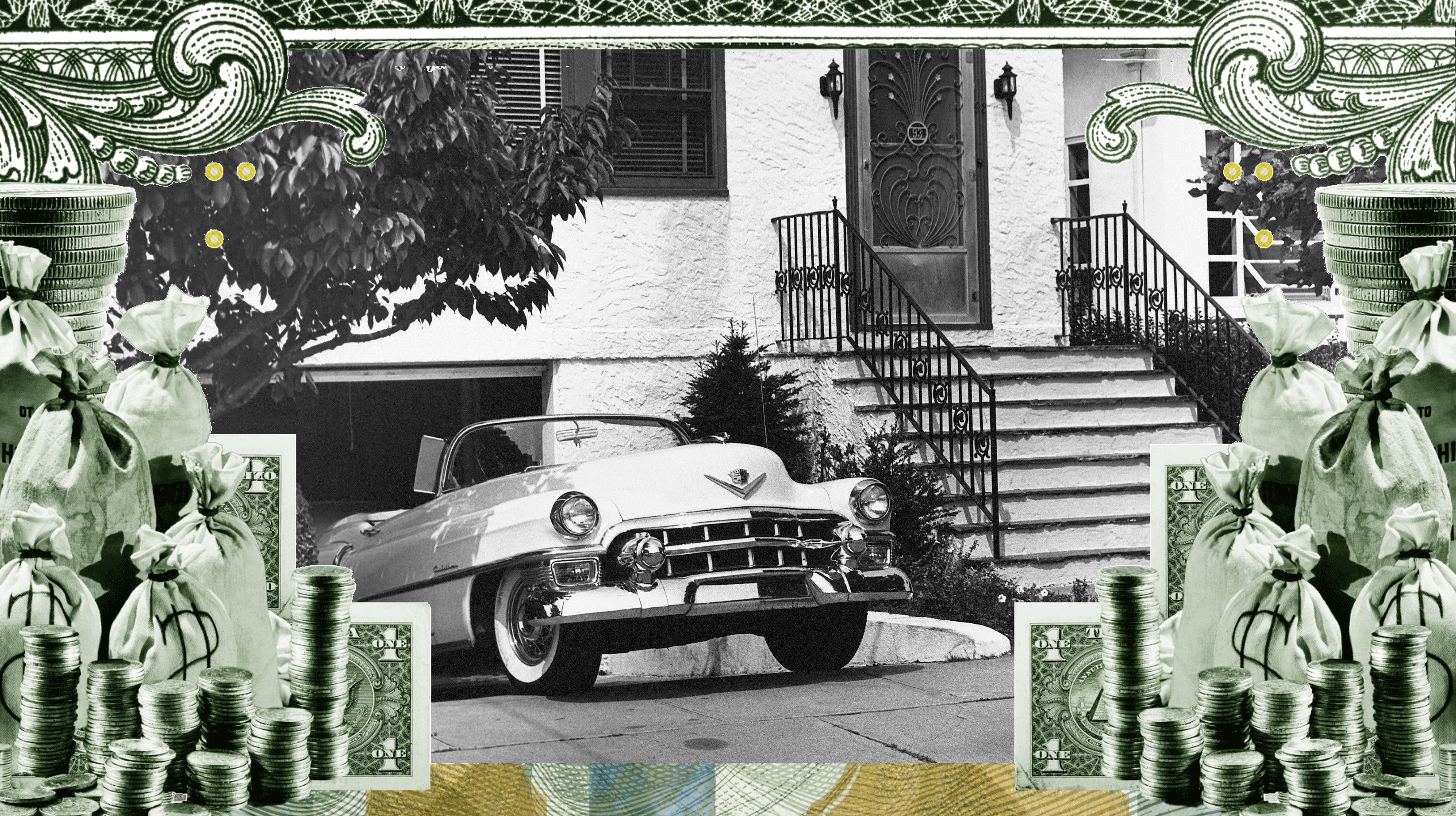 An illustration of dollar bill imagery surrounding an old photo of a car in a driveway.