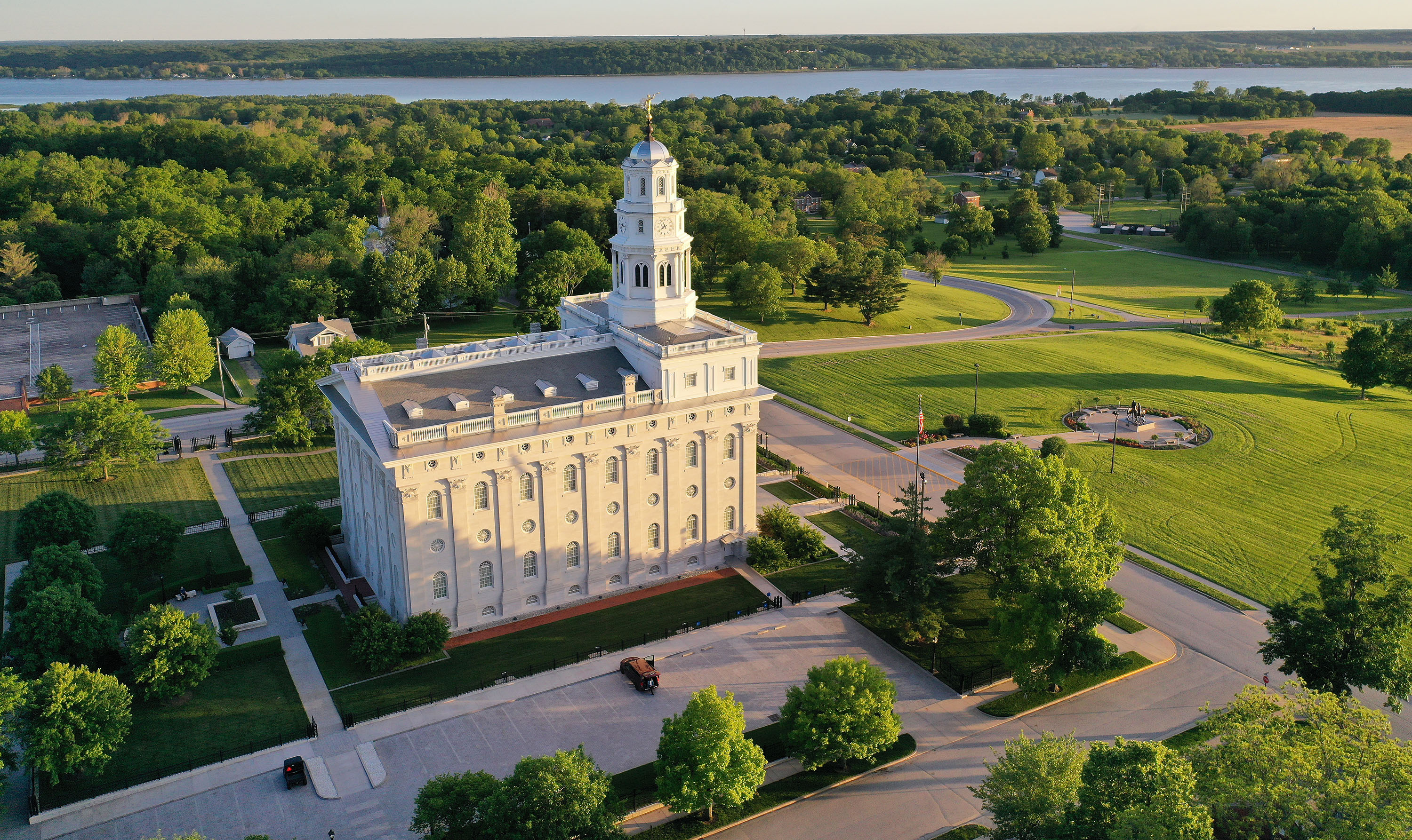 An aerial view of the Nauvoo Illinois Temple.
