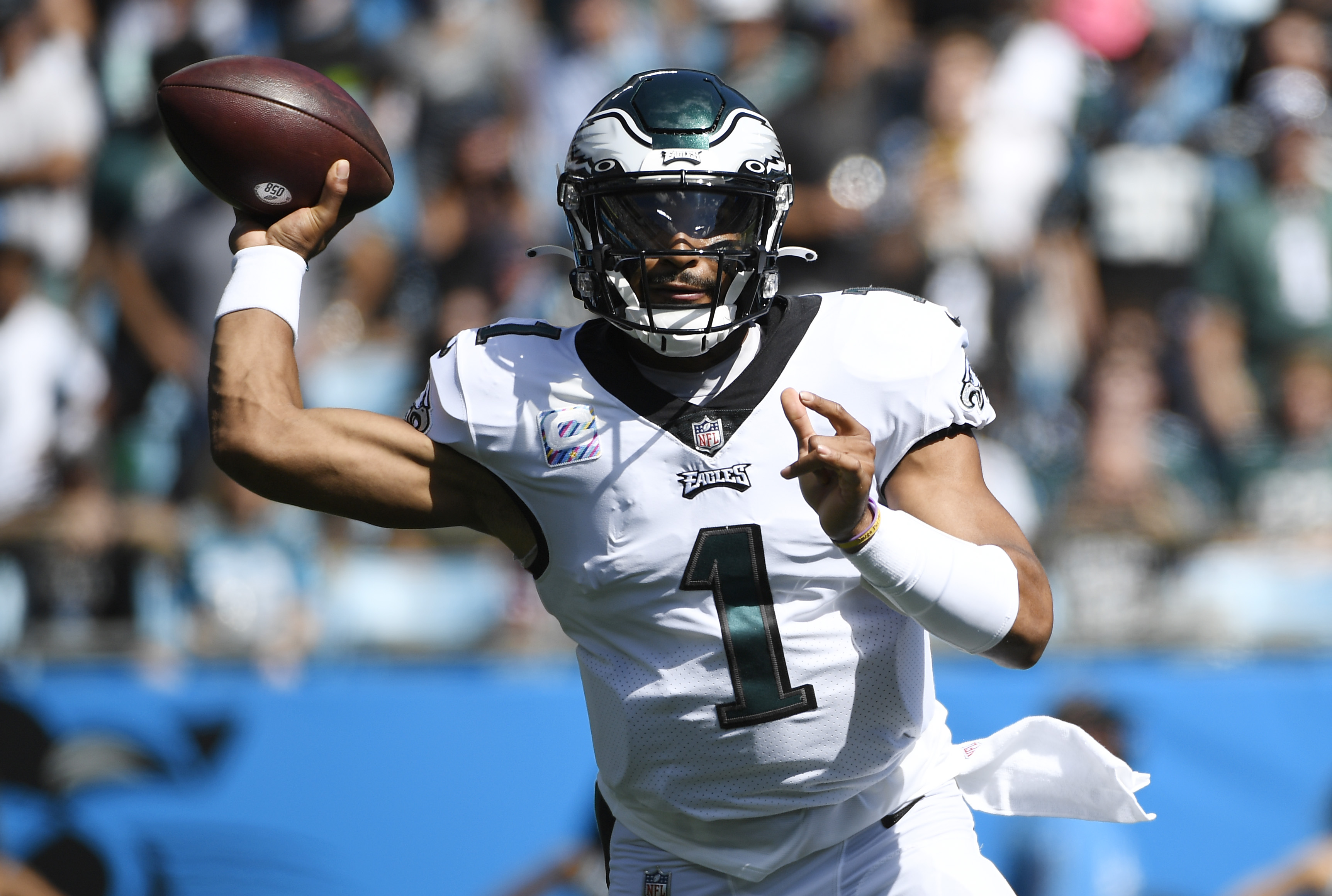 Jalen Hurts #1 of the Philadelphia Eagles throws the ball during the first half of the football game against the Carolina Panthers at Bank of America Stadium on October 10, 2021 in Charlotte, North Carolina.