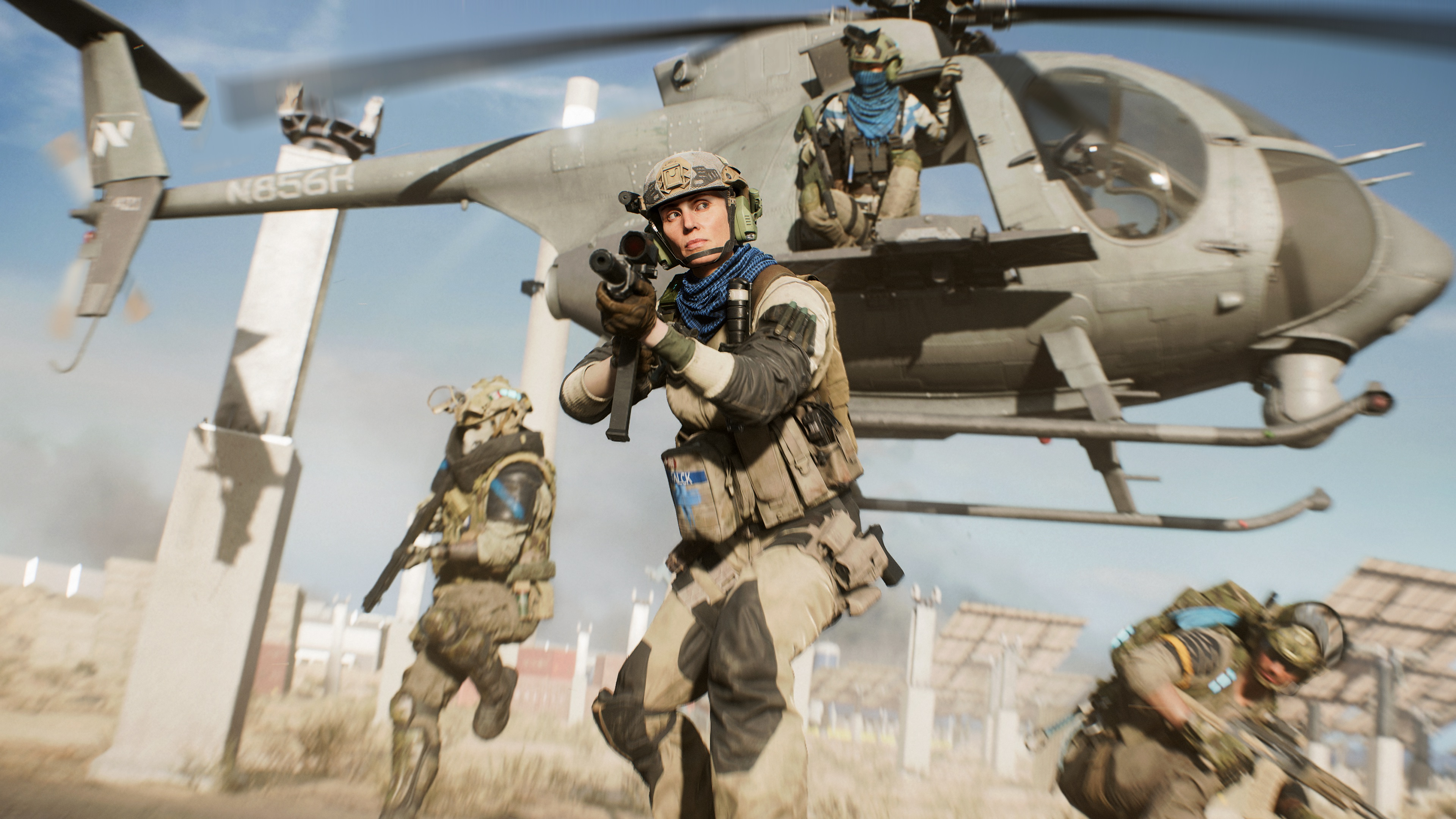 Four soldiers exit a helicopter in a screenshot from Battlefield 2042's Hazard Zone game mode