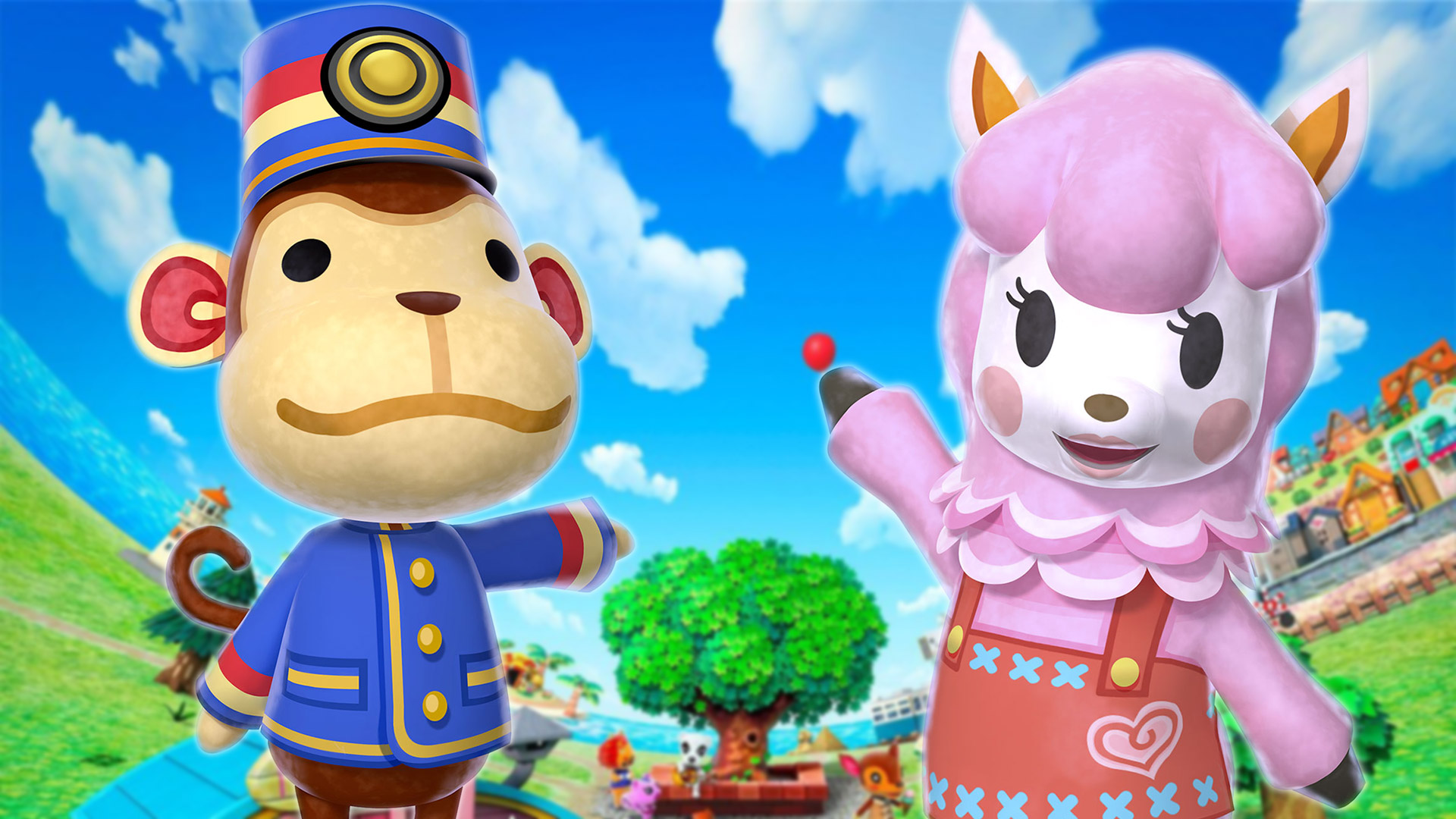 porter the monkey and Reese the pink alpaca in in animal crossing new leaf