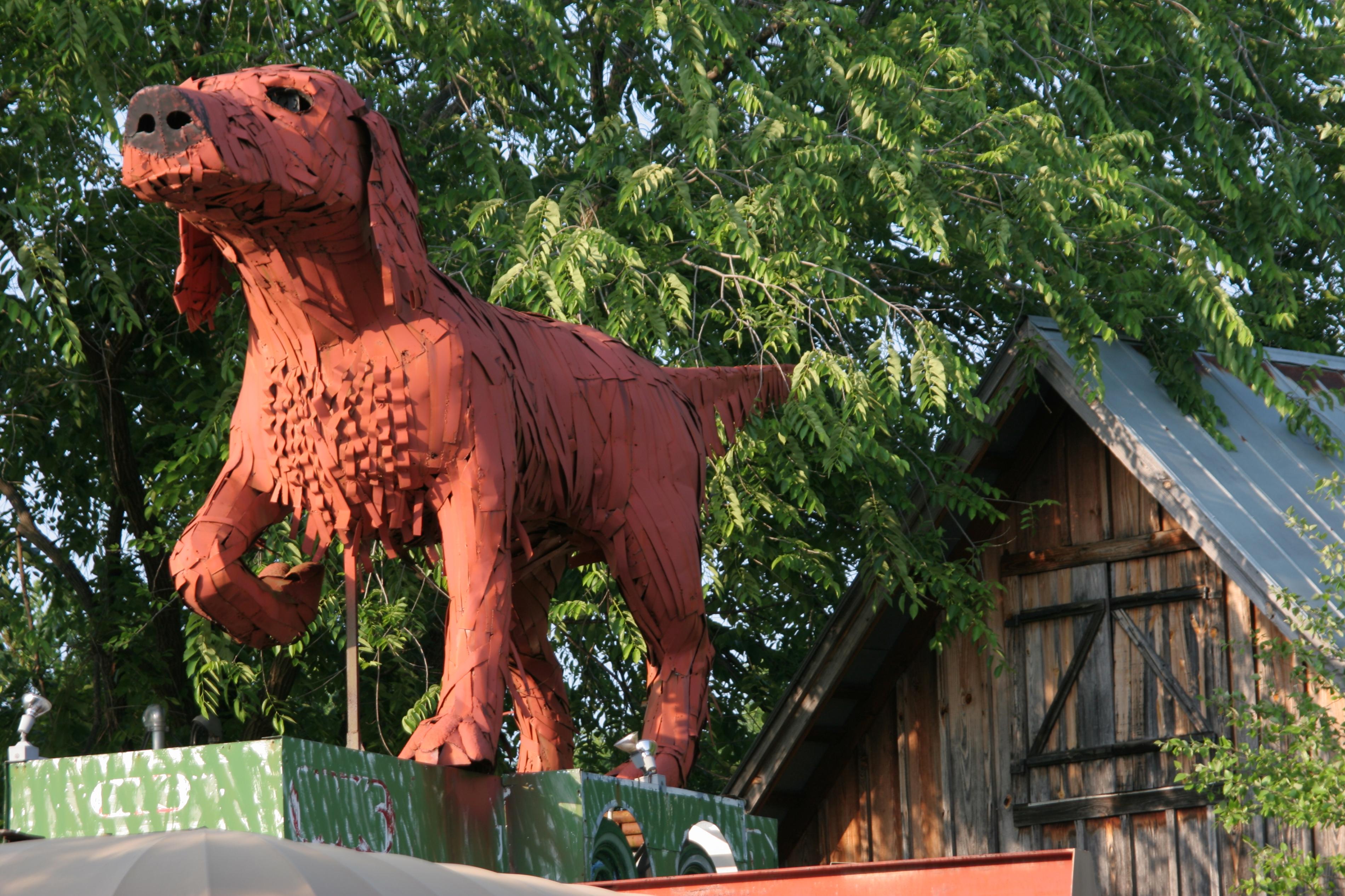 A big red metal dog at Kentuck Art Center.