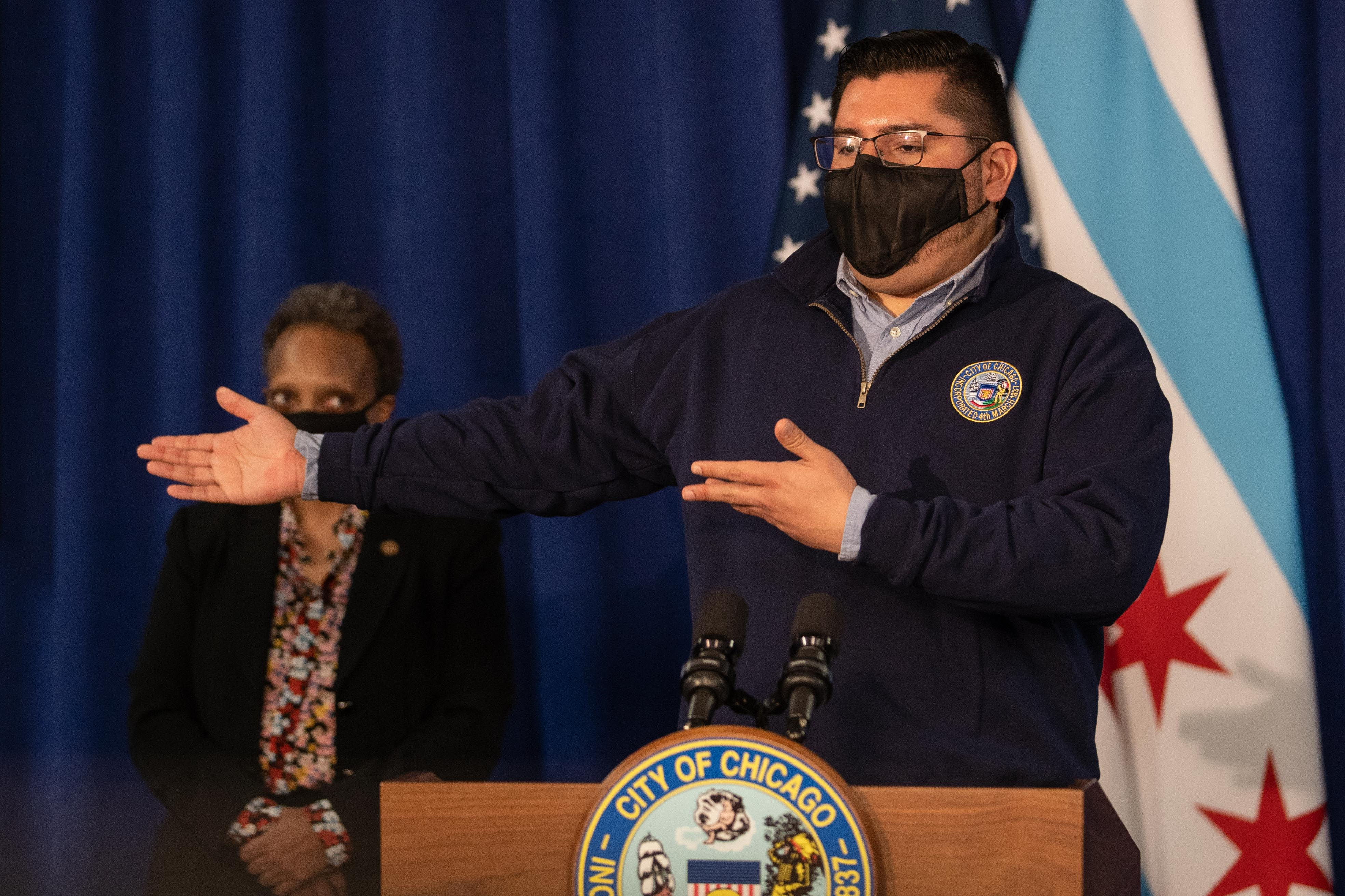 Ald. Carlos Ramirez-Rosa (35th) speaks during a press conference at City Hall in the Loop, Tuesday morning, Feb. 23, 2021, where Chicago Mayor Lori Lightfoot signed the Welcoming City Ordinance.