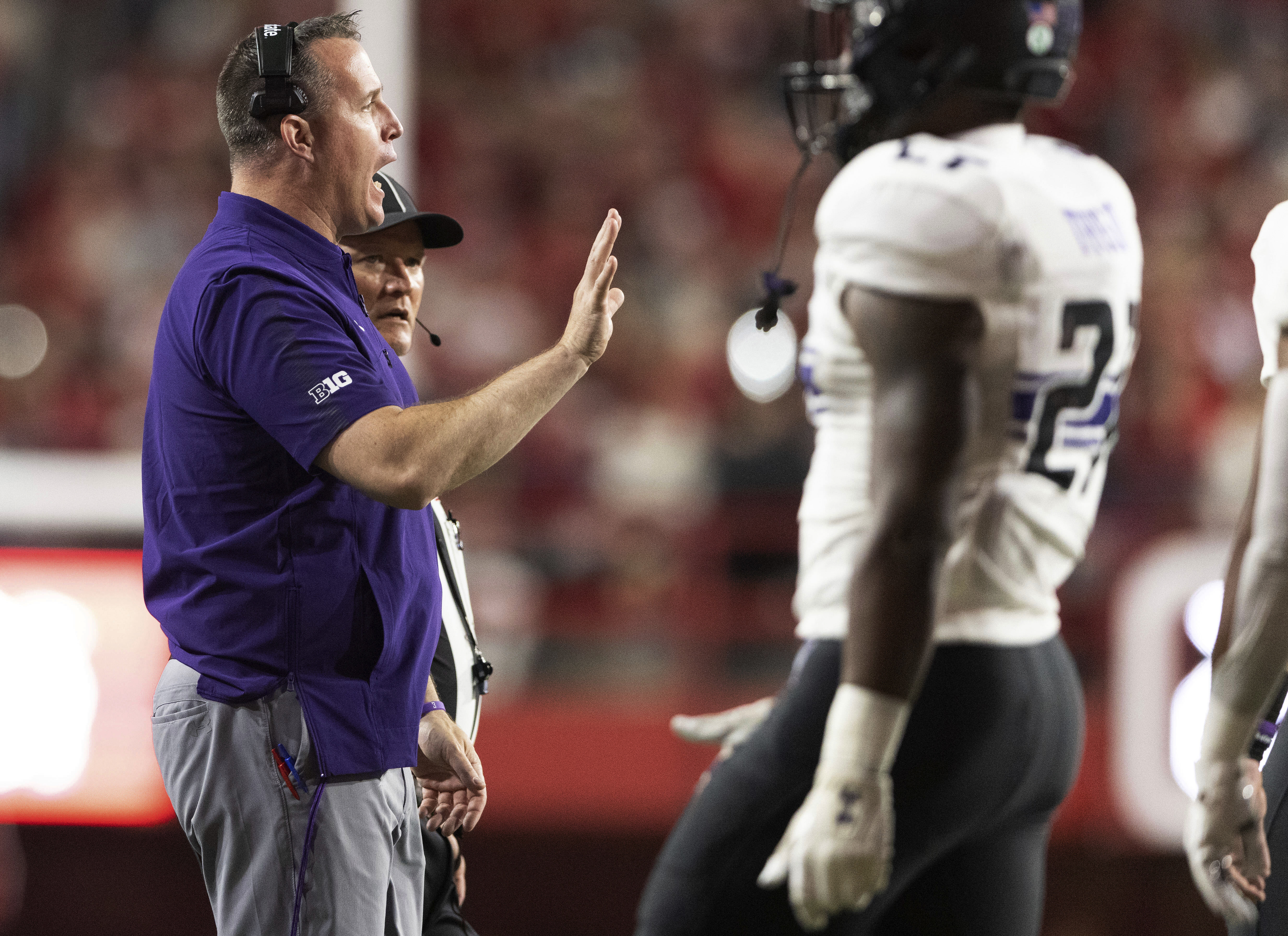 Coach Pat Fitzgerald and Northwestern will host Rutgers on Saturday.