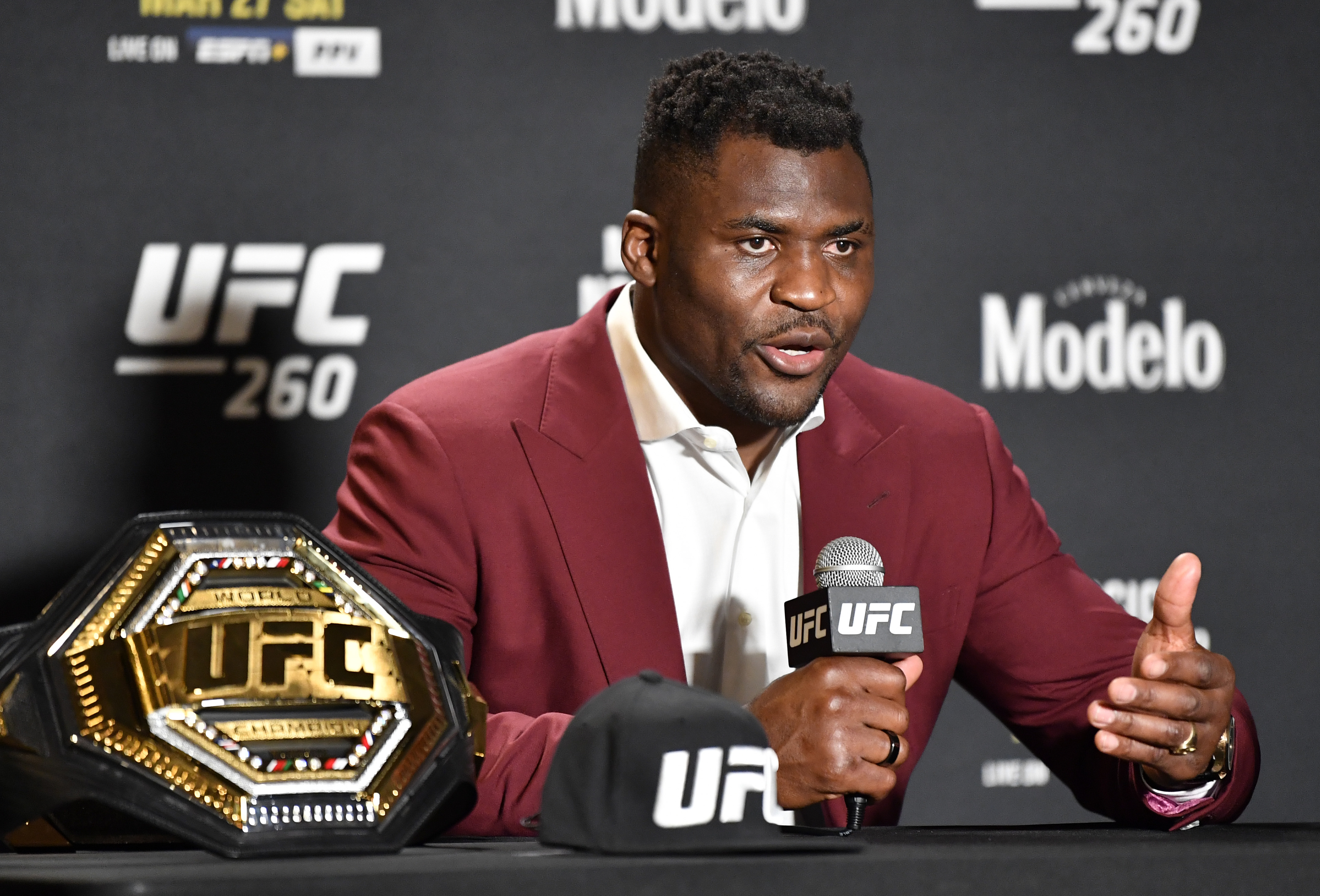 The UFC has created an interim heavyweight title because Francis Ngannou could not fight in August