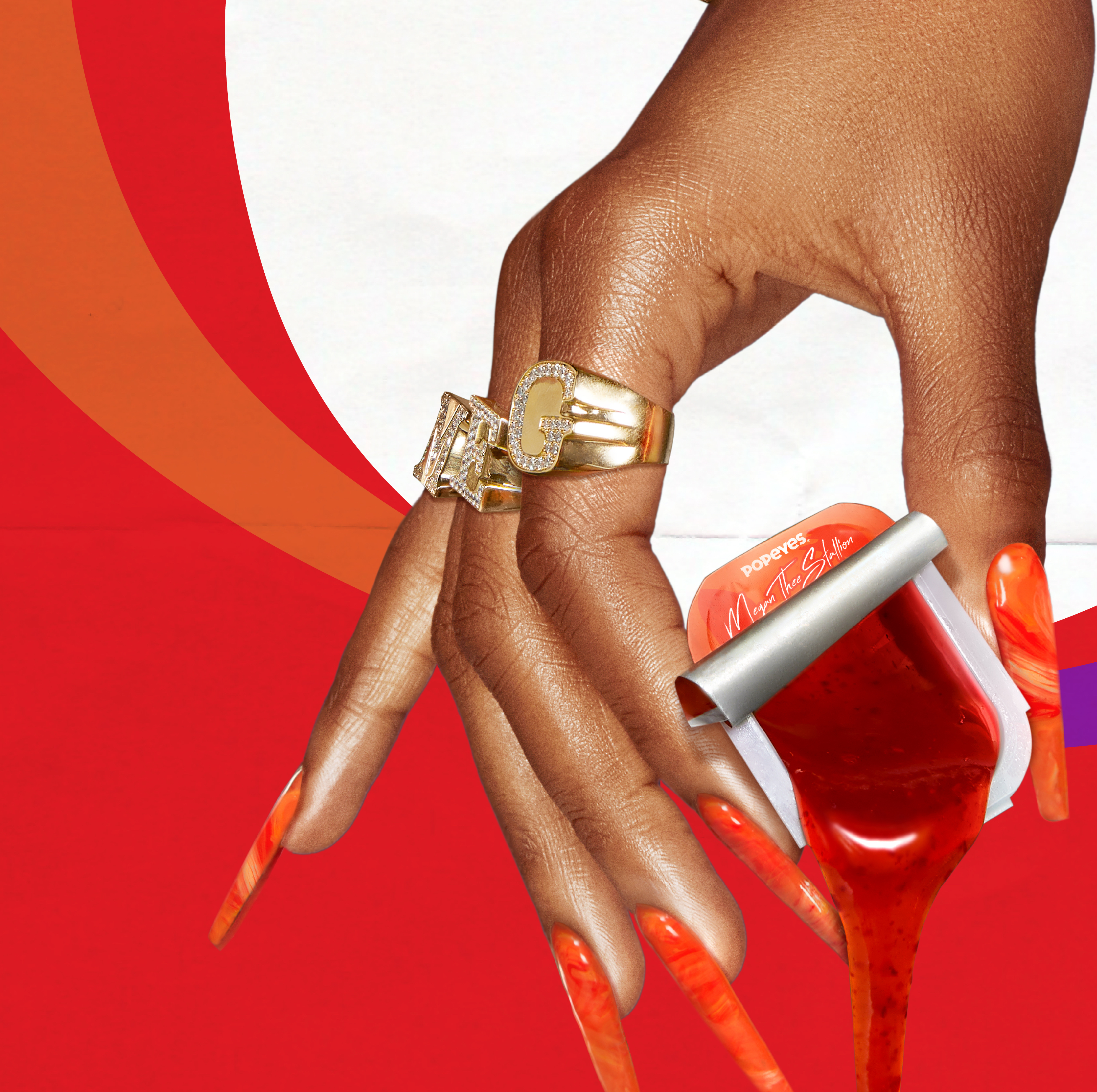 A graphic background, with a hand in the foreground, holding a small plastic container of dripping sauce.