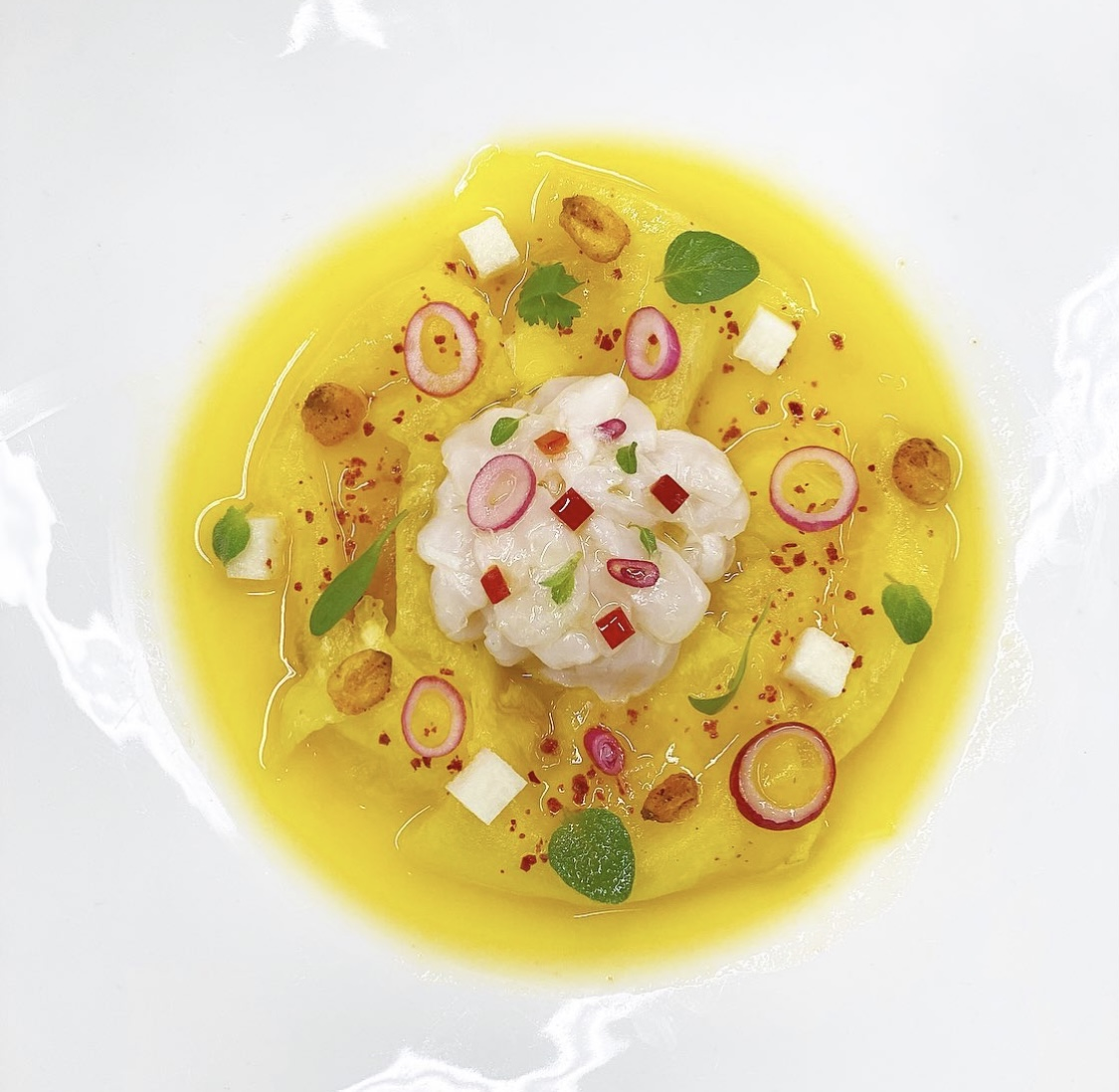 A close up of a Latin dish with pineapple