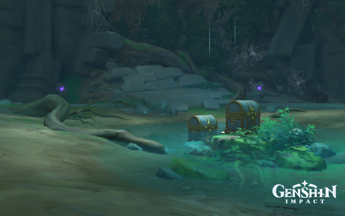 Two Luxurious Chests sit in a puddle of water along electro-powered stone arches.