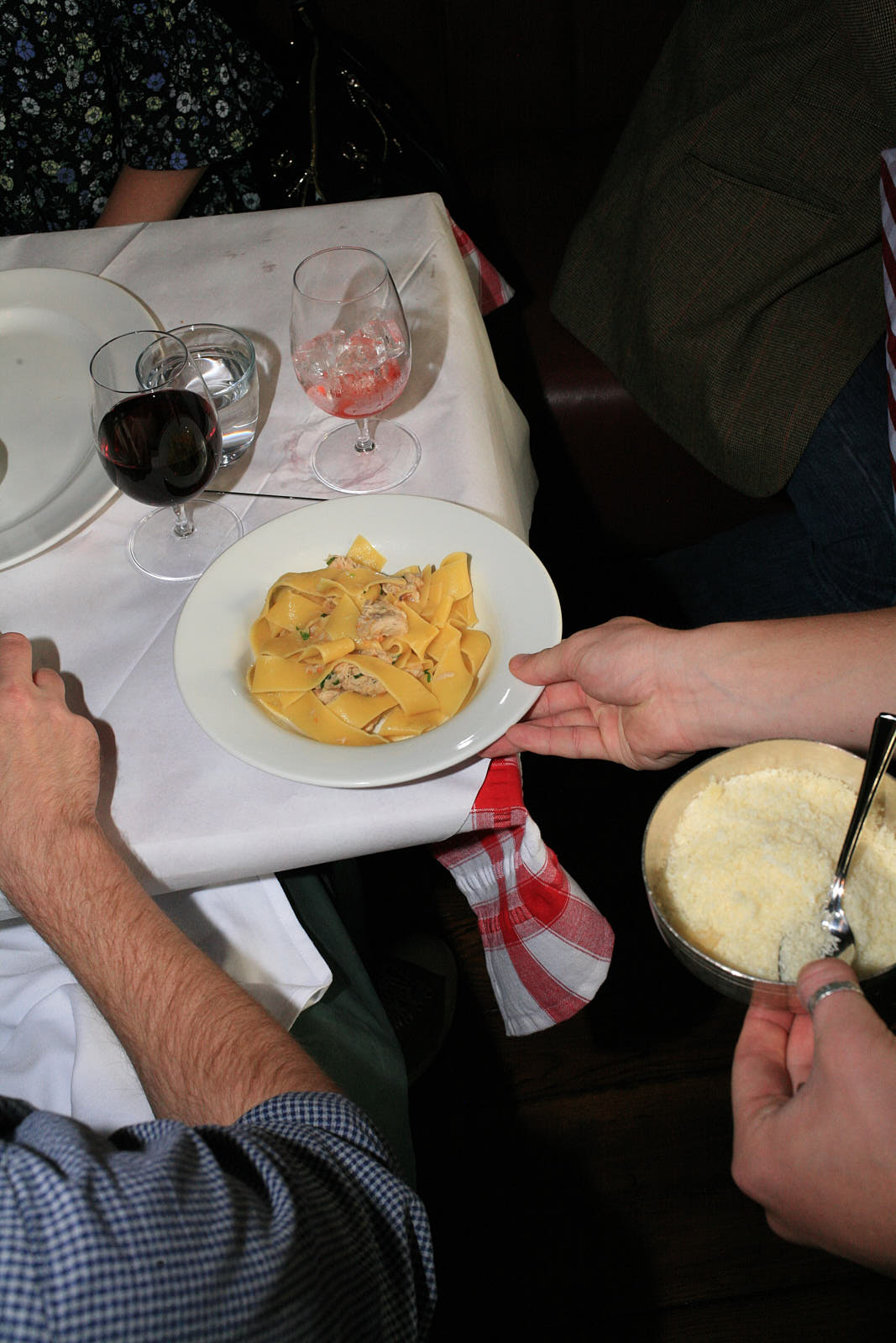 Serving up pasta with Parmesan ready to spoon at Brutto, in Farringdon.